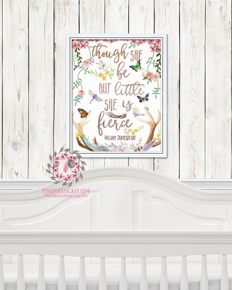 And Though She Be But Little She Is Fierce Woodland Boho Nursery Throughout Most Current Though She Be But Little She Is Fierce Wall Art (View 8 of 20)