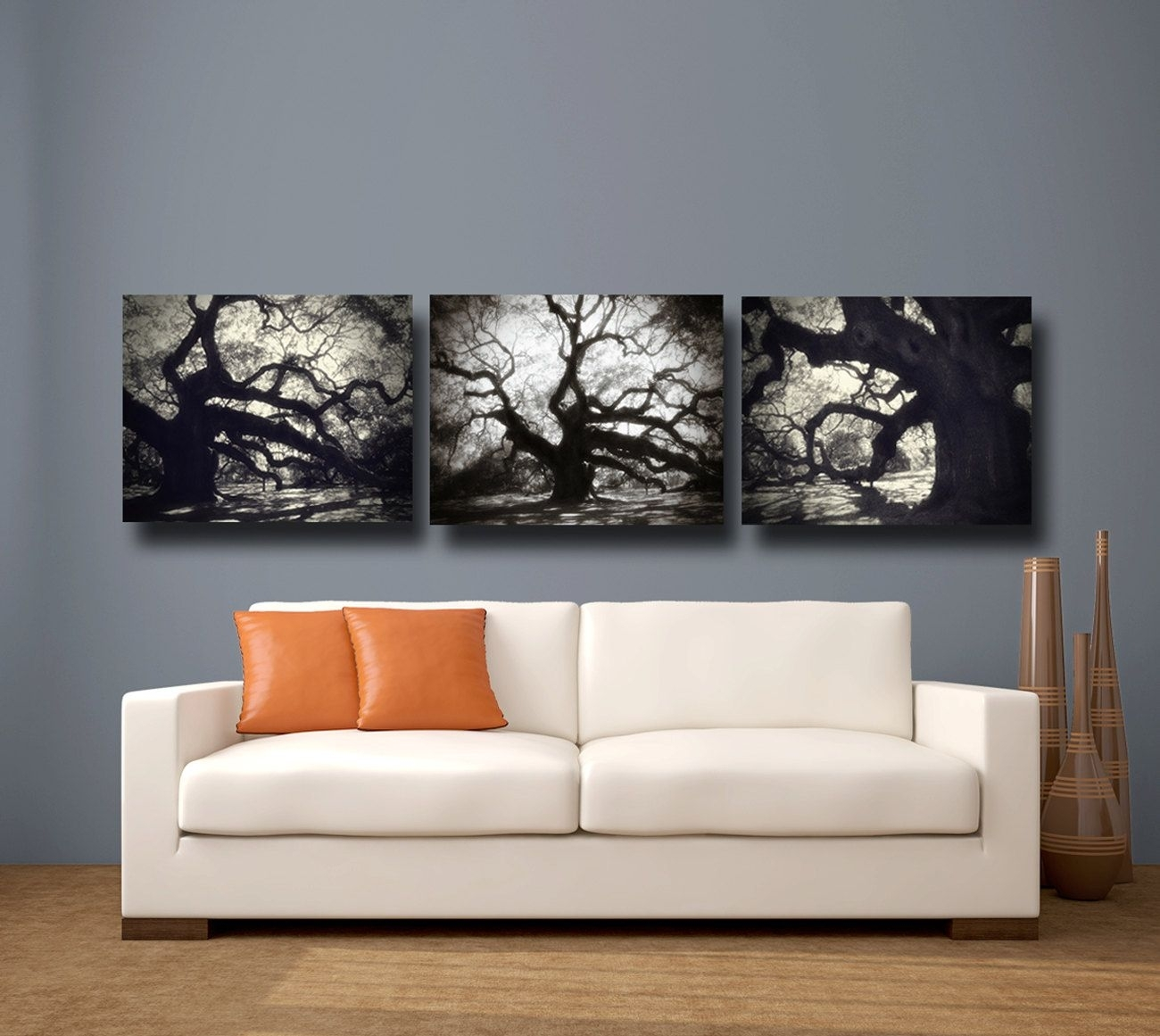 Angel Oak Tree Photography, Fine Art Canvas Wrap Set Of Three 3 Within Newest Black And White Large Canvas Wall Art (View 4 of 20)