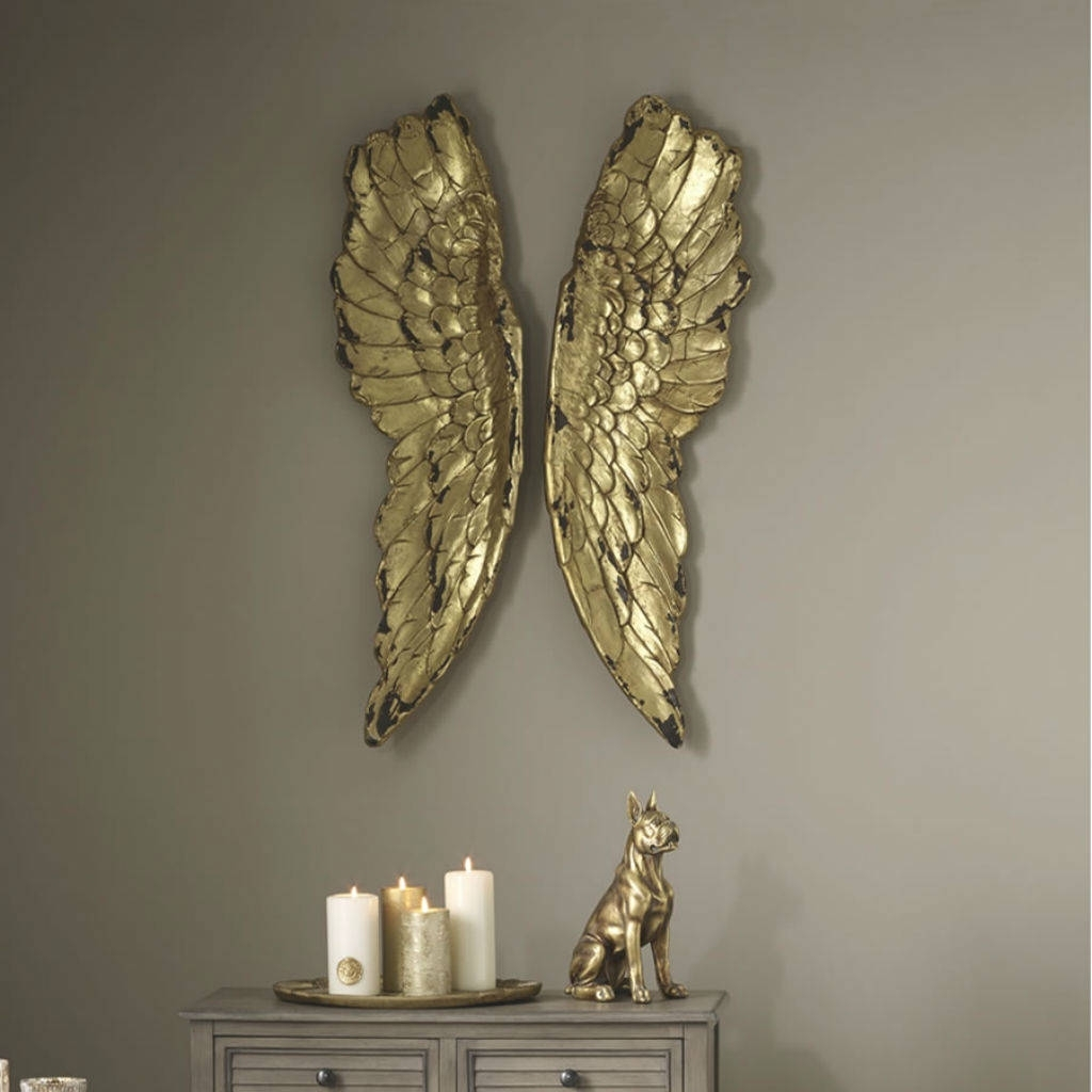 Angel Wings Large Antiqued Grey Silver Or Gold Wall Artcowshed Within 2018 Grey Wall Art (View 5 of 20)