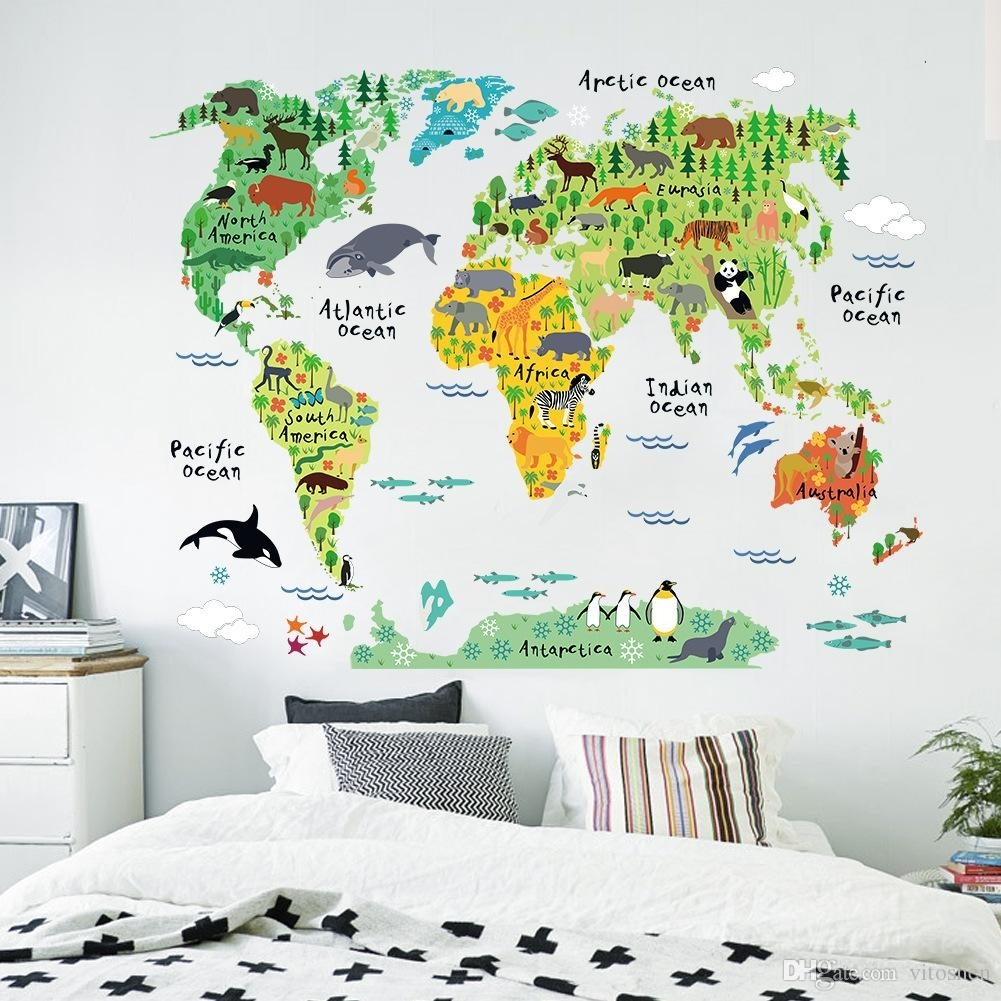 Animal World Map Wall Art Stickers Nursery Kids Decor Removable Pertaining To Most Popular Vinyl Wall Art World Map (View 7 of 20)