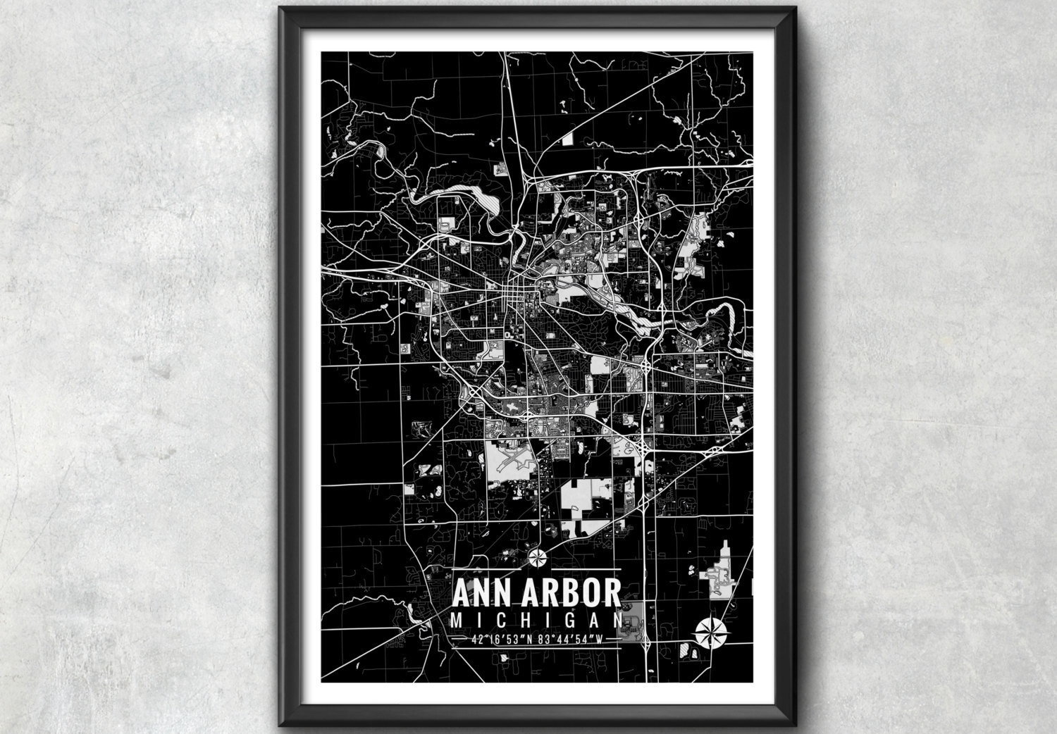 Ann Arbor Michigan Map With Coordinates Ann Arbor Map Map Design Of Pertaining To Most Up To Date Michigan Wall Art (View 3 of 20)