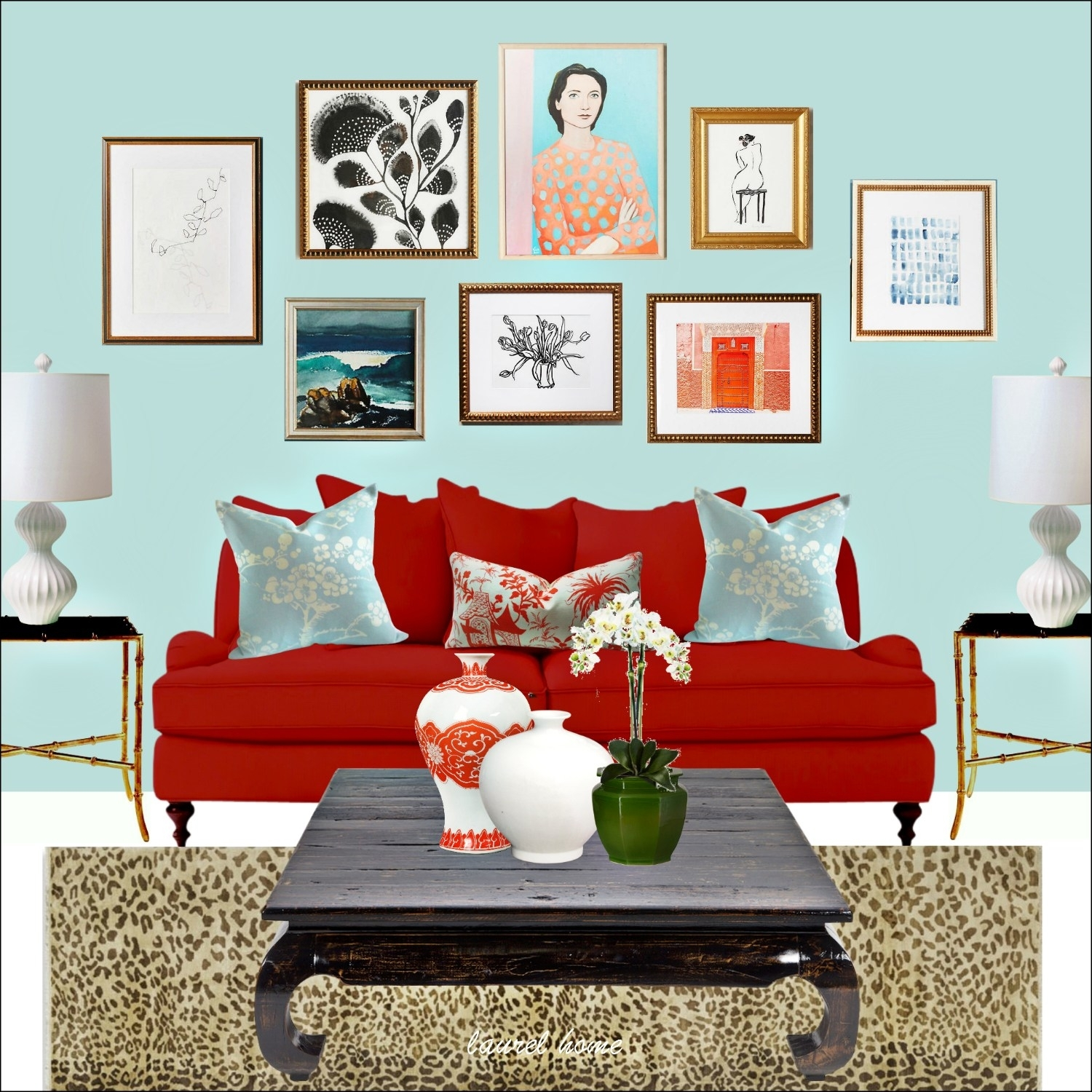 Anthropologie Art Wall With Artfully Walls Art And Red Sofa And In Most Recent Artfully Walls (View 14 of 15)