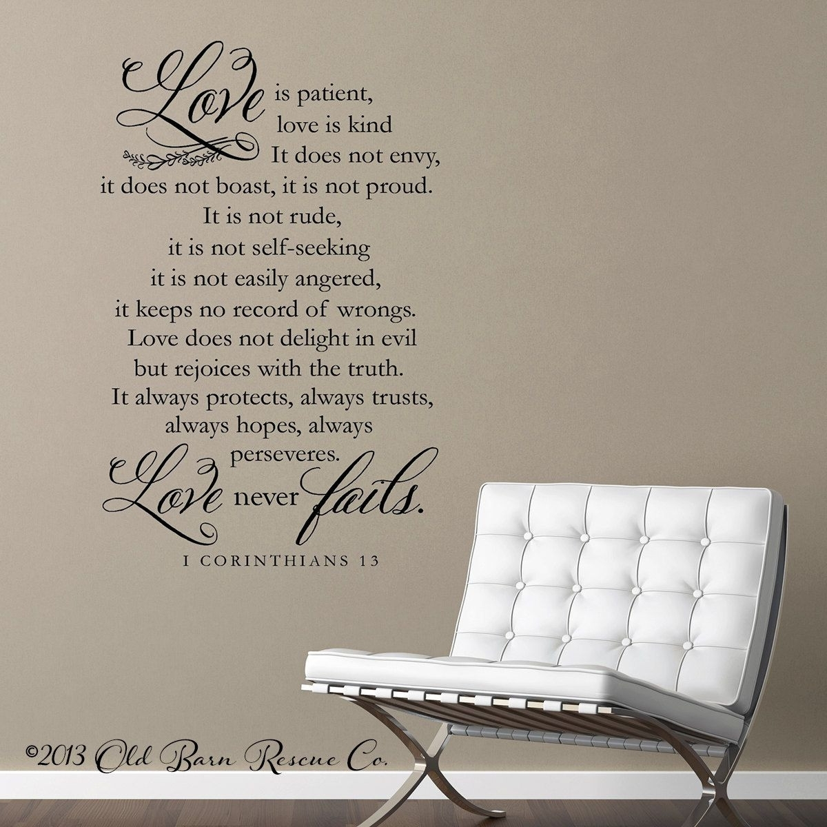 Appealing Wall Art Decor Ideas Sofa Corinthians Chair White Pict Of Regarding Most Recent Love Is Patient Wall Art (View 11 of 20)