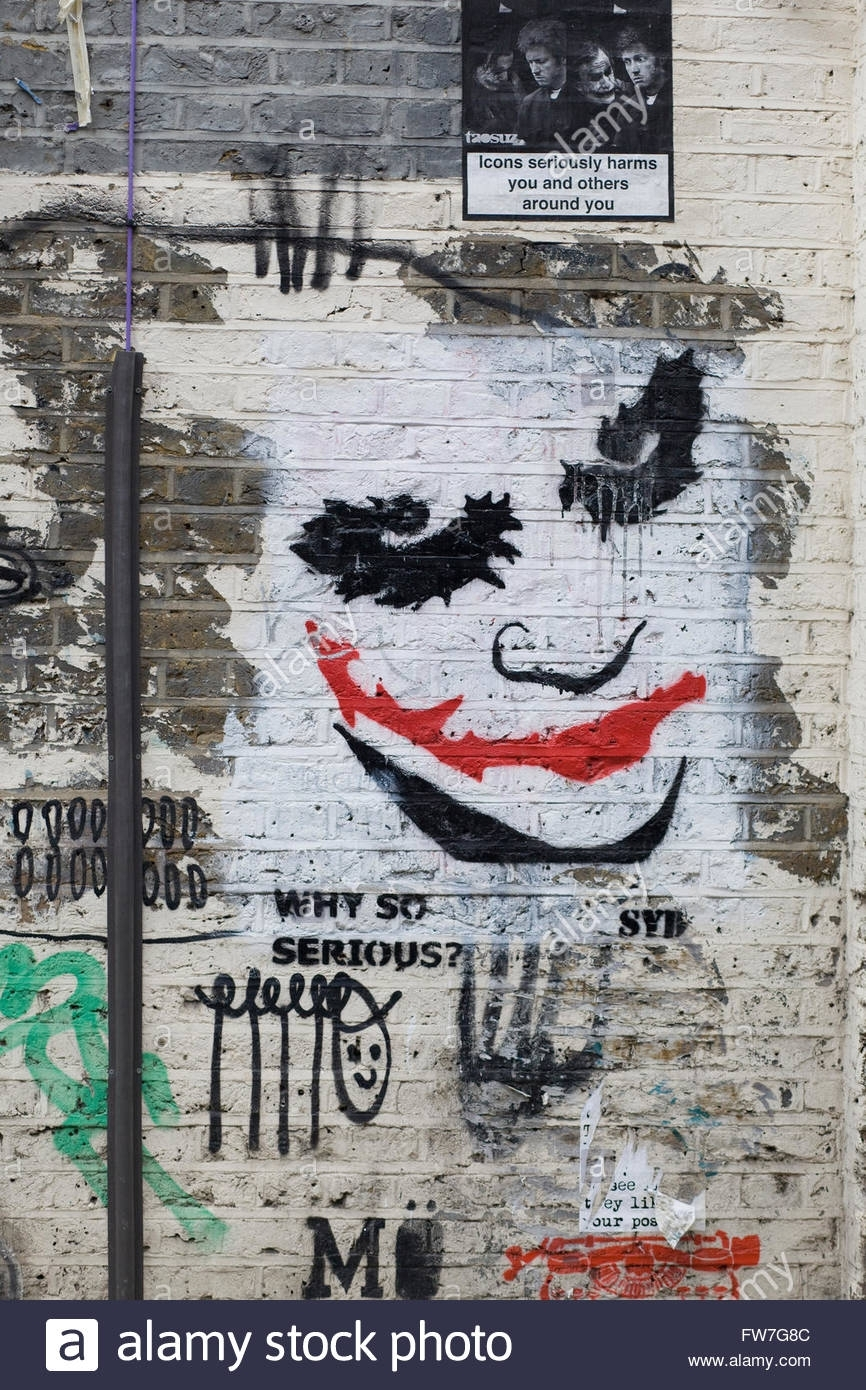 Approved Wall Art Graffiti, The Joker From Batman Stock Photo With Most Up To Date Joker Wall Art (View 4 of 20)