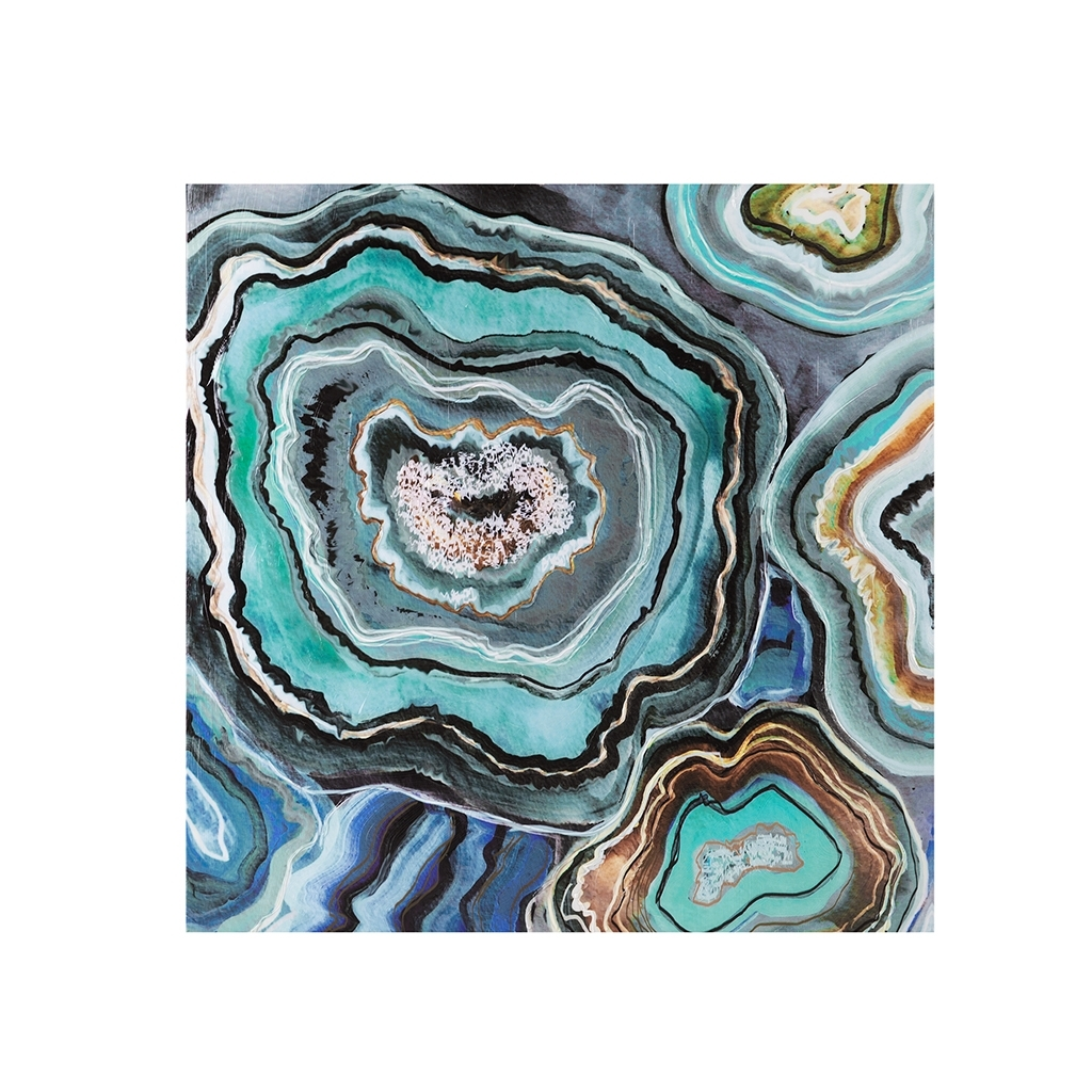 Aqua Agate Printed Canvas With Gel Coat | Abstract Wall Art | Abode Inside Recent Agate Wall Art (View 8 of 20)
