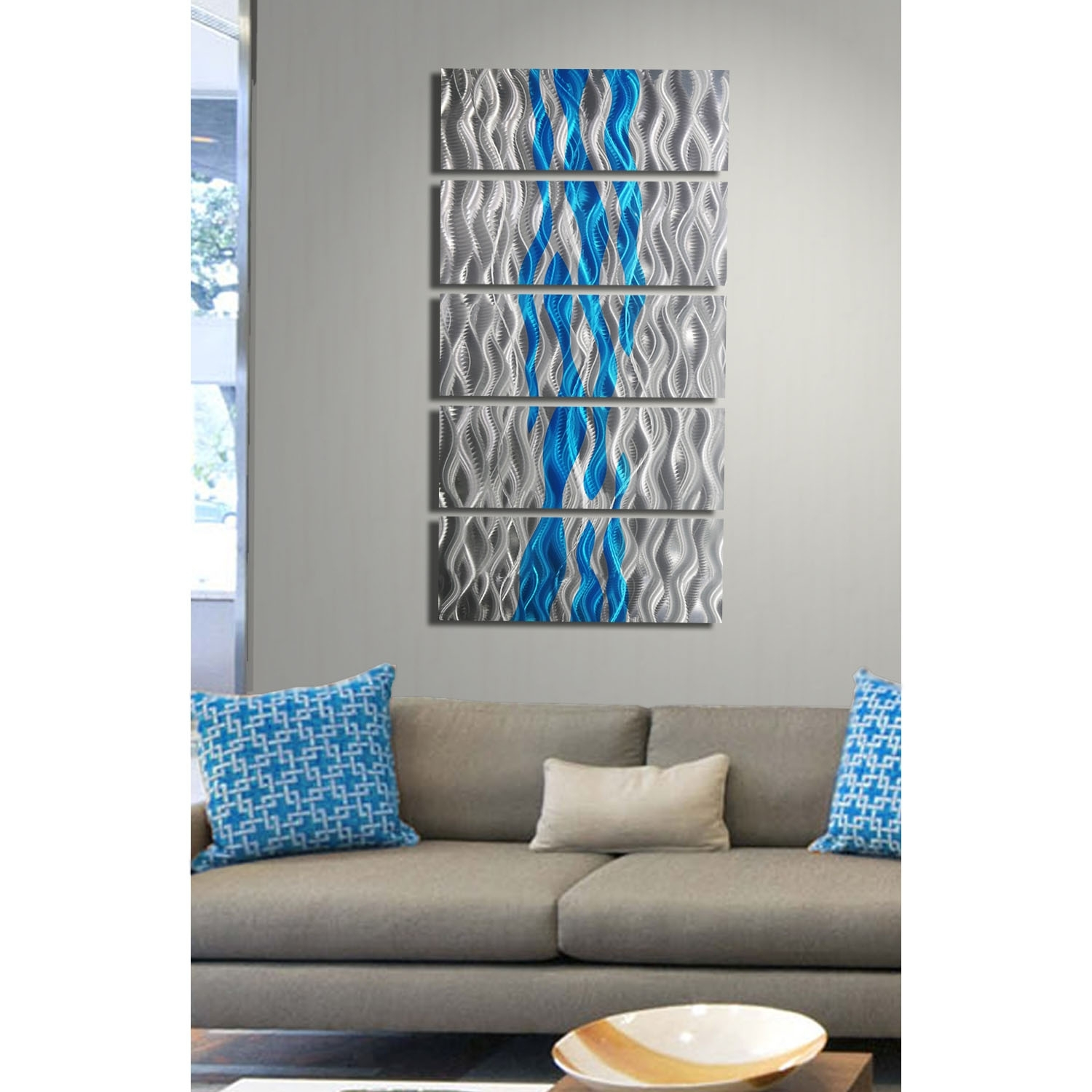 Aqua Oceana – Silver And Aqua Metal Wall Art – 5 Panel Wall Décor Regarding Newest Turquoise Wall Art (View 4 of 20)