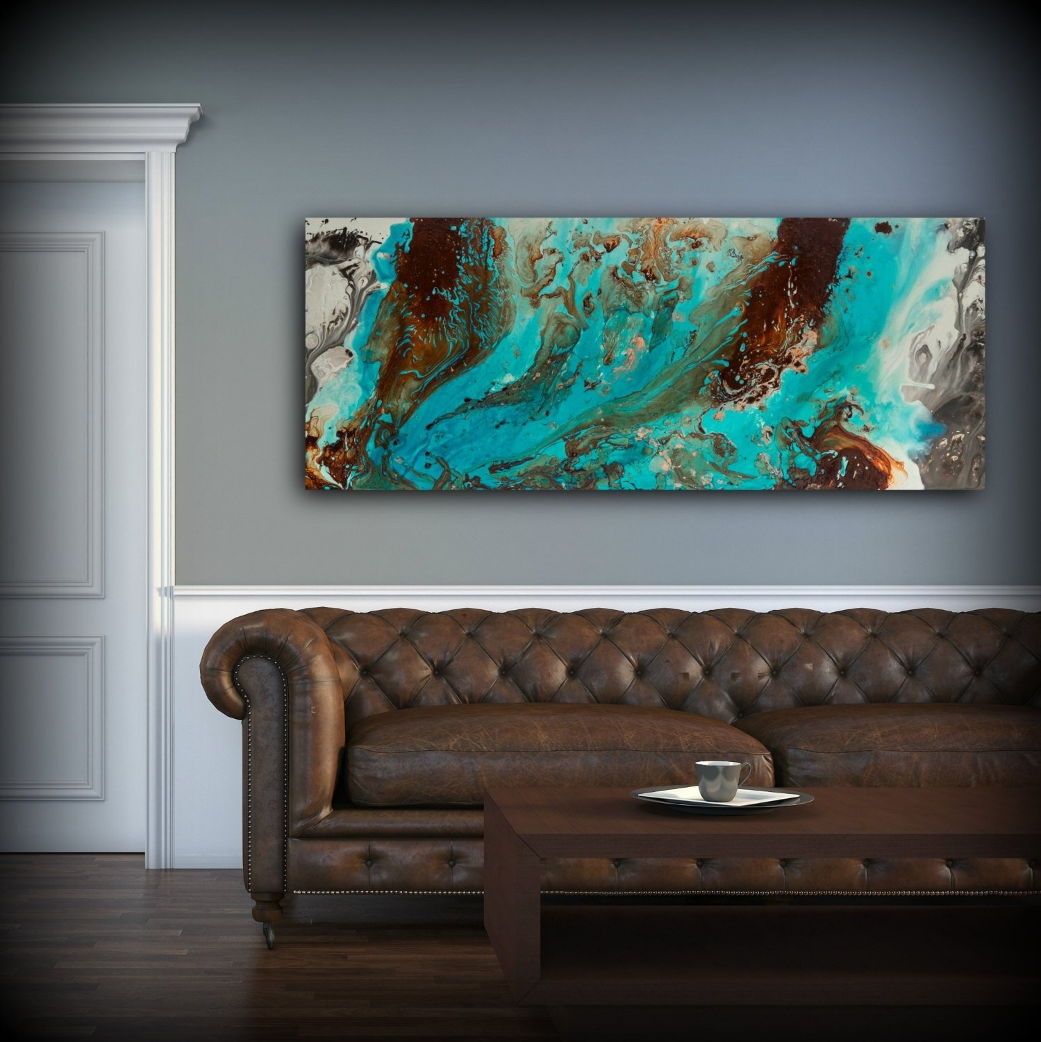 Aqua Print, Blue And Brown Wall Art Decor, Colourful, Bohemian Art Pertaining To Newest Teal And Brown Wall Art (View 1 of 20)