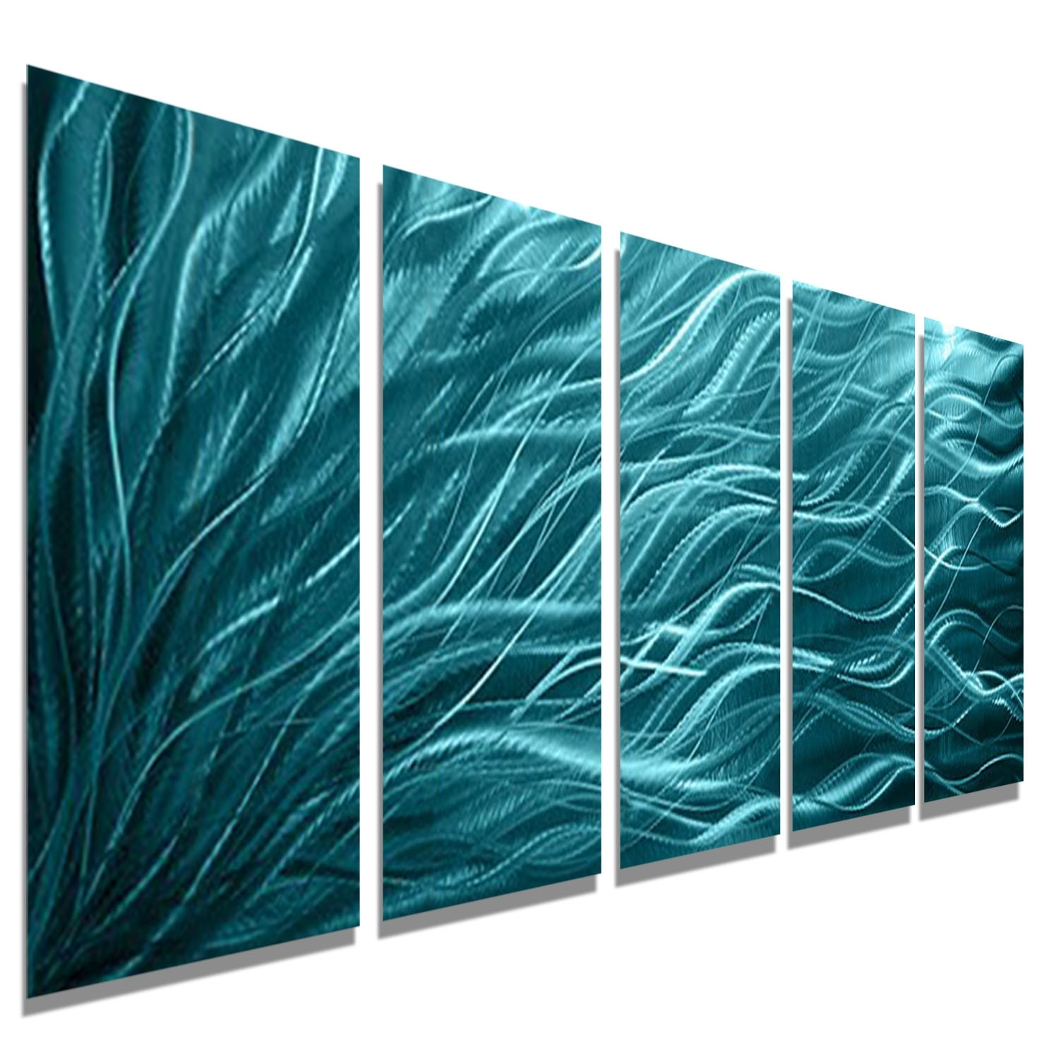 Aqua Sea Grass – Aqua Blue Metal Wall Art – 5 Panel Wall Décor Inside Latest Sea Glass Wall Art (View 1 of 15)