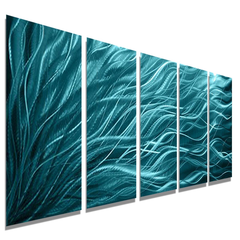 Aqua Sea Grass – Aqua Blue Metal Wall Art – 5 Panel Wall Décor Inside Latest Sea Glass Wall Art (View 15 of 15)