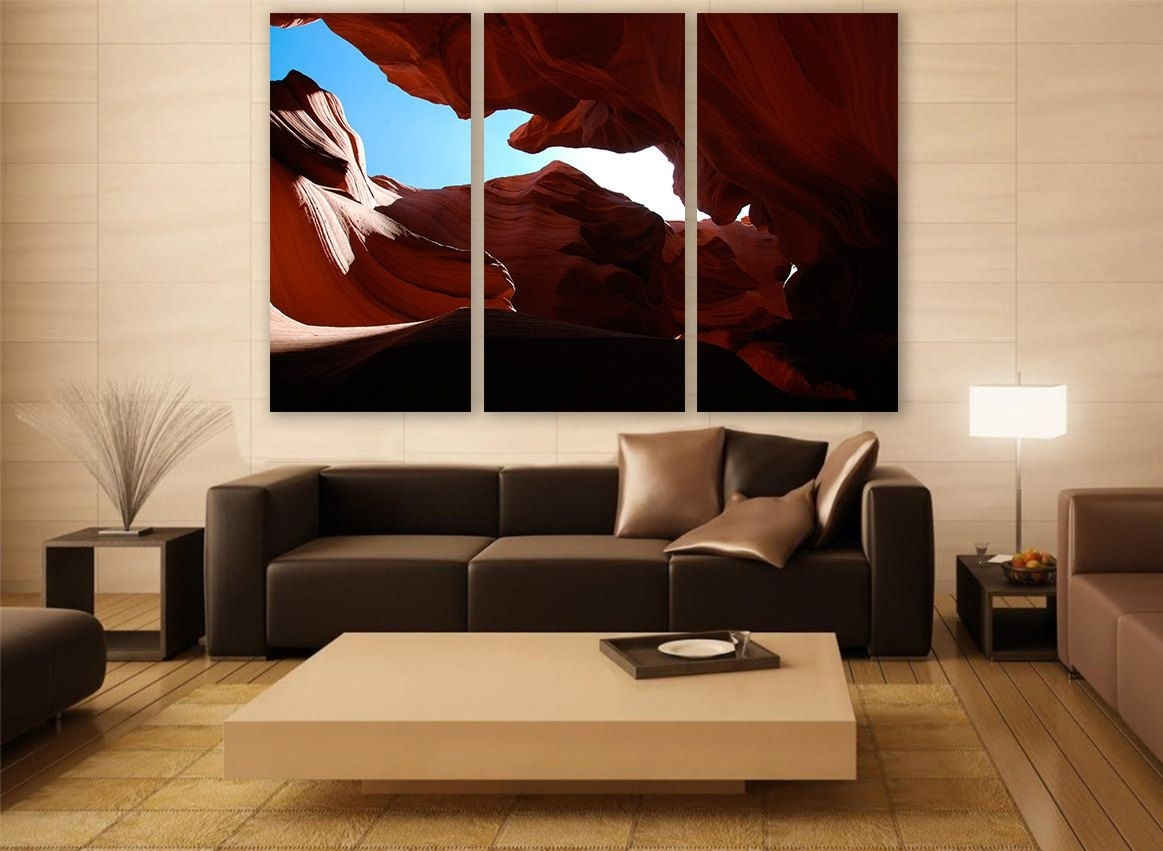 Arizona Canyon Canvas Print 3 Panels Print Wall Decor Wall Art With Regard To Most Up To Date Arizona Wall Art (View 13 of 20)