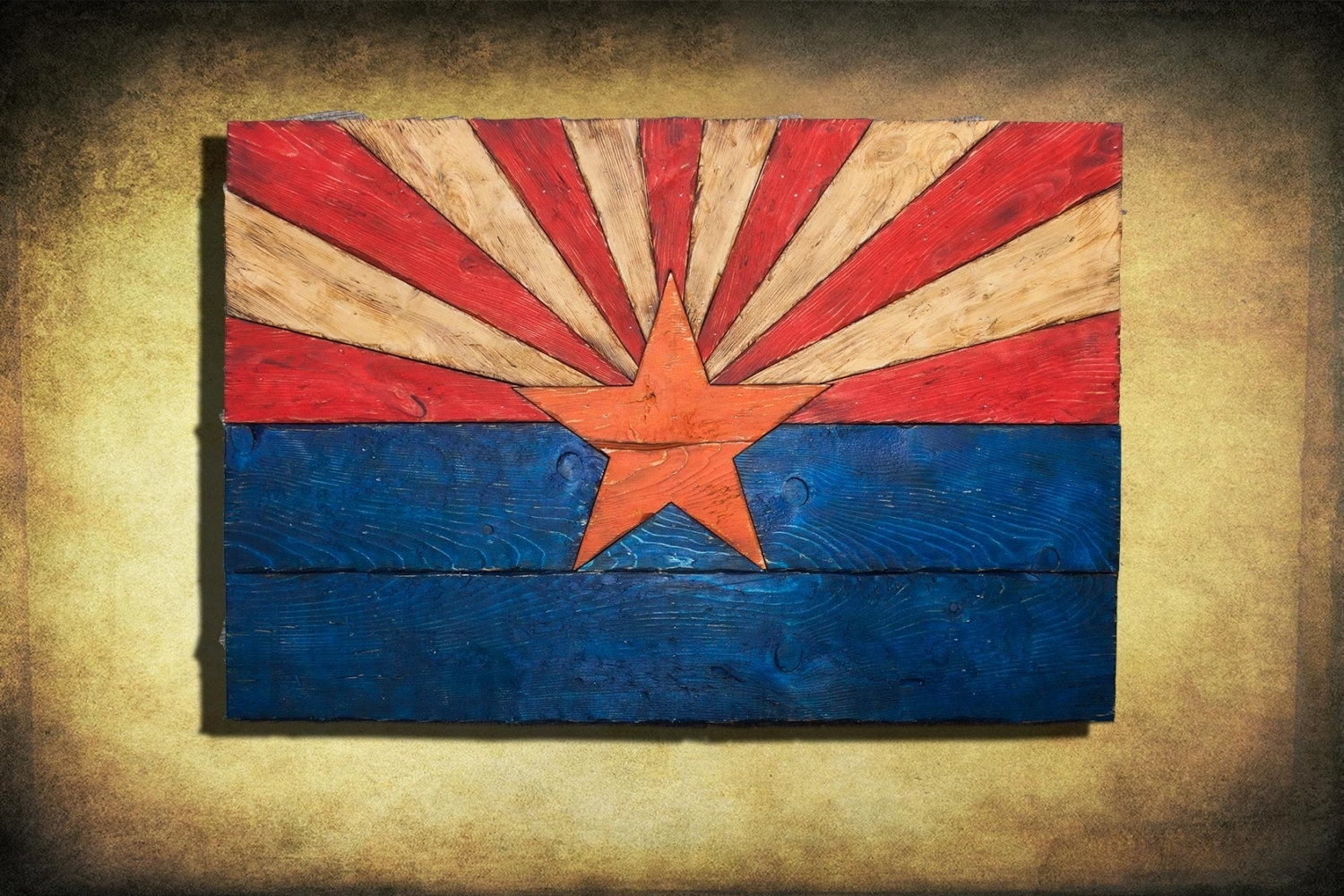 Arizona Flag, Handmade, Distressed Painted Wood, Vintage, Art Intended For Most Popular Arizona Wall Art (View 5 of 20)