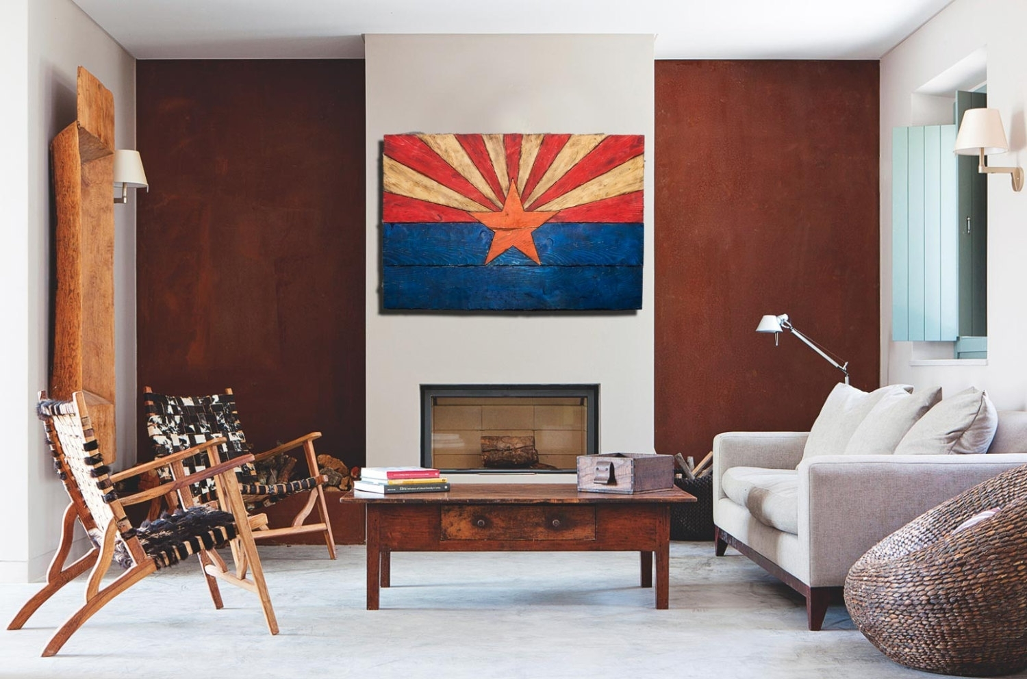 Arizona Flag, Handmade, Distressed Painted Wood, Vintage, Art Intended For Most Popular Arizona Wall Art (View 8 of 20)