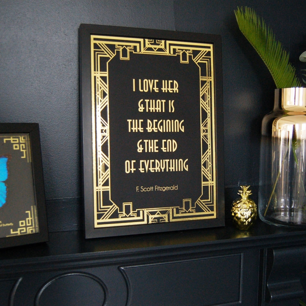Art Deco Black And Gold Typography Print Wall Artmade With Love Within 2018 Art Deco Wall Art (View 2 of 20)
