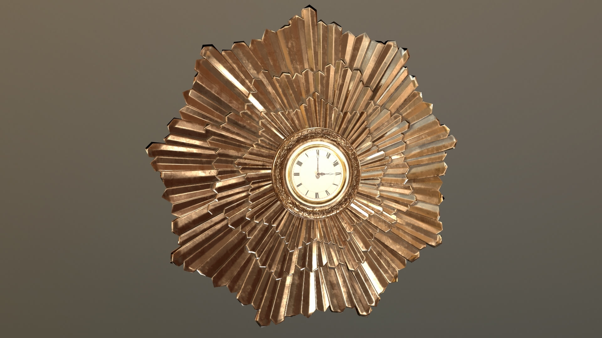 Art Deco Wall Clock 3D Model Inside Best And Newest Art Deco Wall Clock (View 6 of 20)
