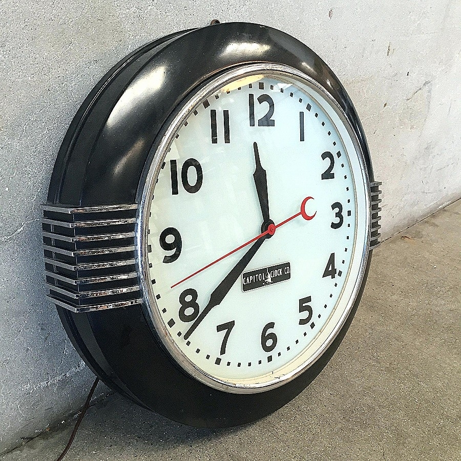 Art Deco Wall Clock Black : Andrews Living Arts – Unique Art Deco With 2018 Art Deco Wall Clock (View 7 of 20)