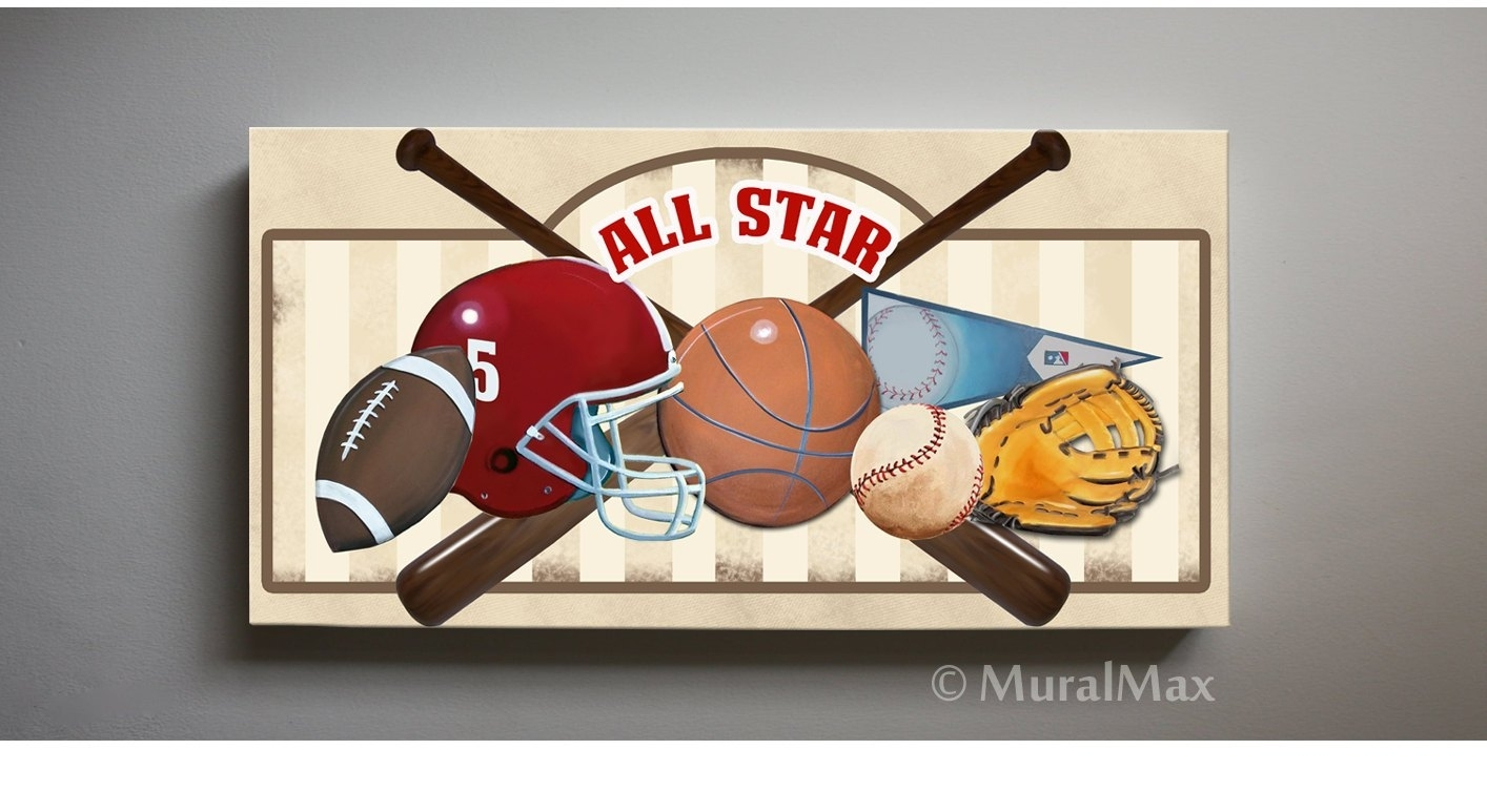 Art For Children Kids Wall Art Sports Canvas Art All Star, Baseball With 2018 Sports Wall Art (View 3 of 20)