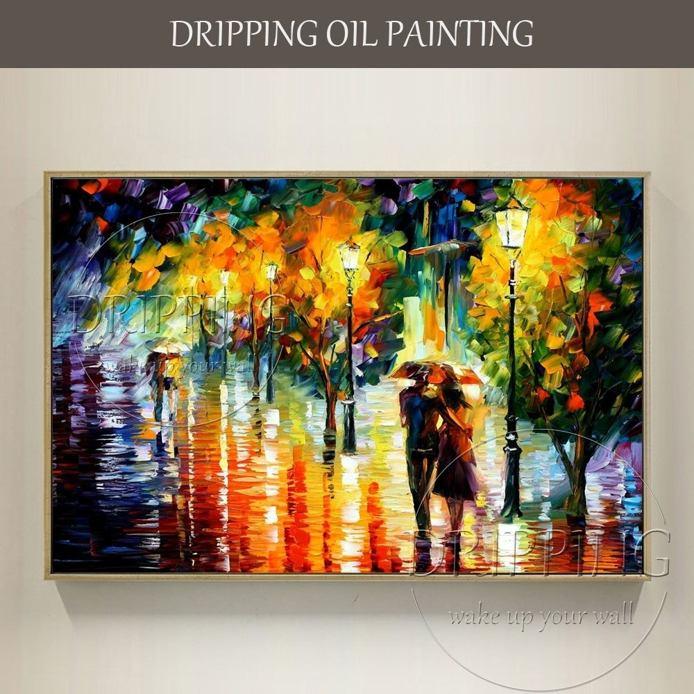Artist Hand Painted Colorful Wall Art Abstract Scenery Lovers Oil Inside Latest Colorful Wall Art (View 7 of 20)