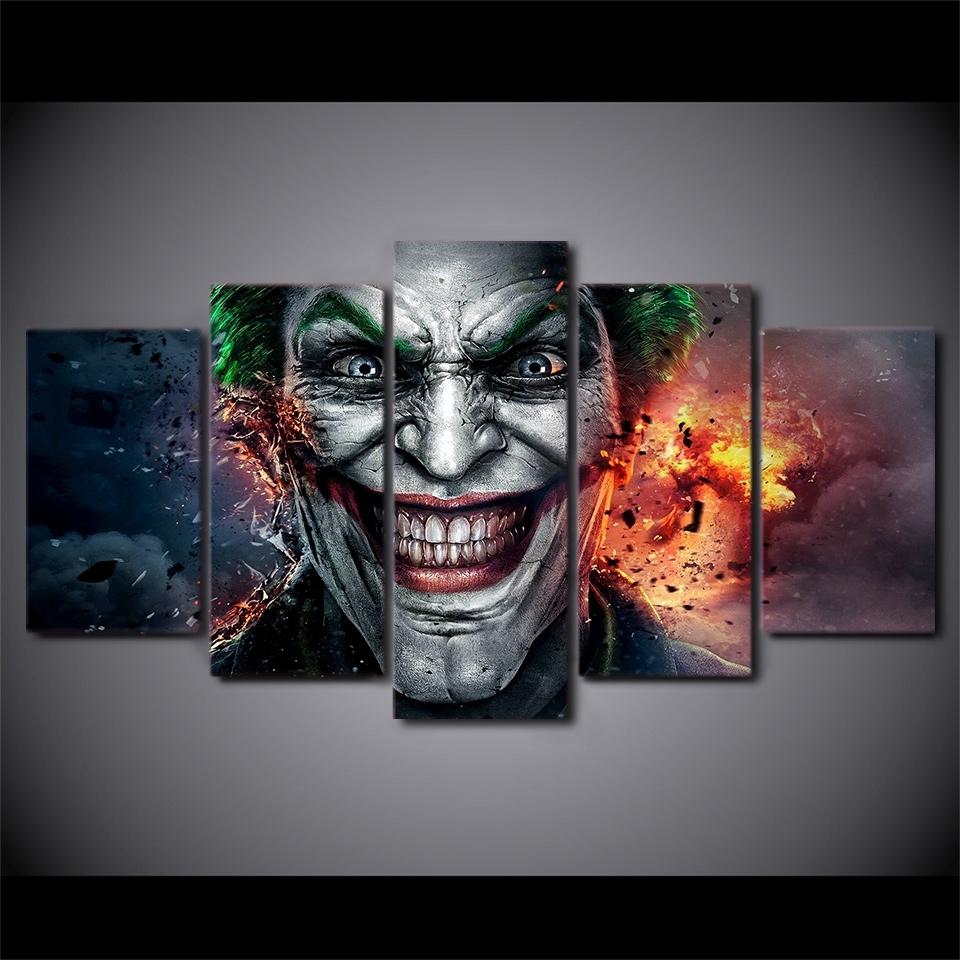 Artsailing 5 Pieces Canvas Paintings Batman Joker Comics Wall Art With Recent Joker Wall Art (View 5 of 20)