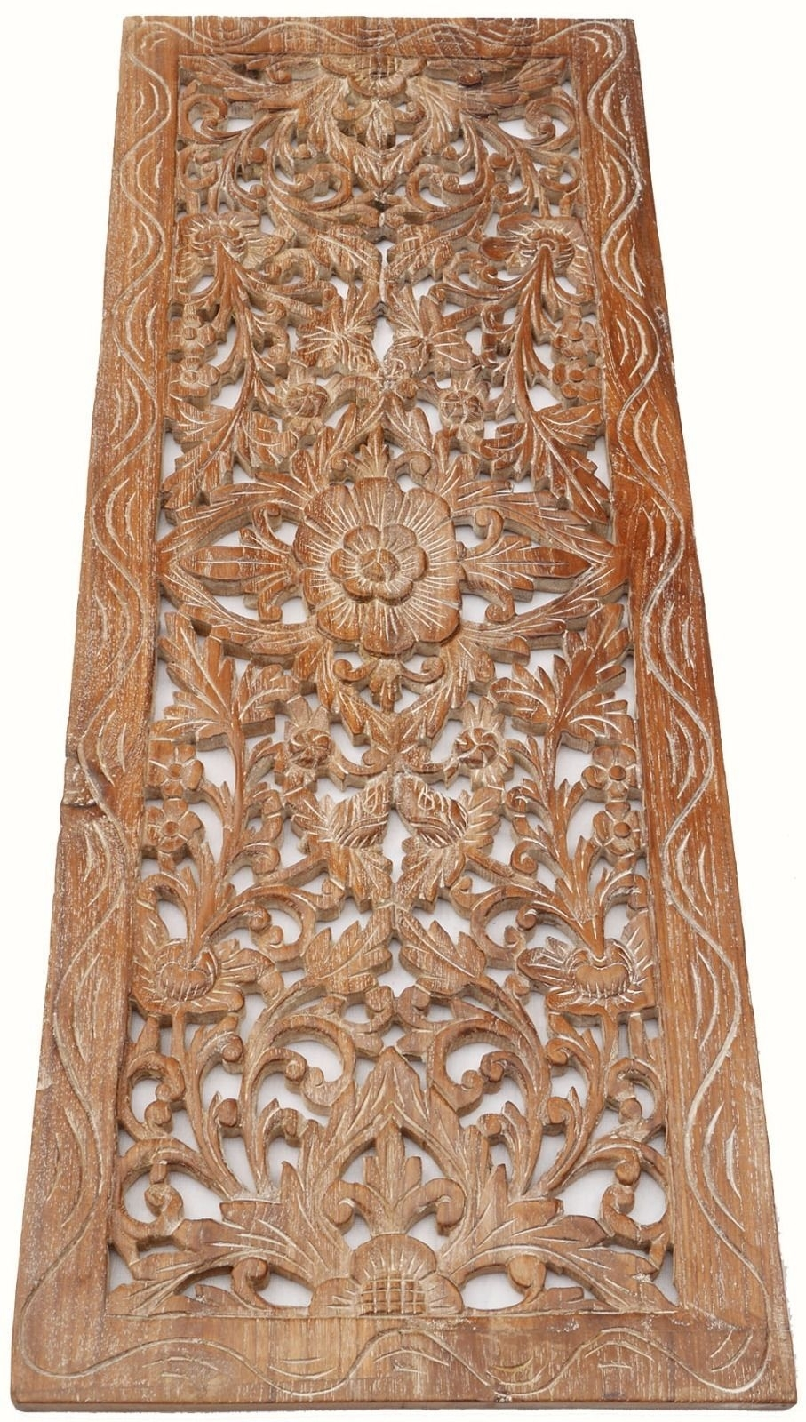 Asian Carved Wood Wall Decor Panel. Floral Wood Wall Art (View 1 of 15)
