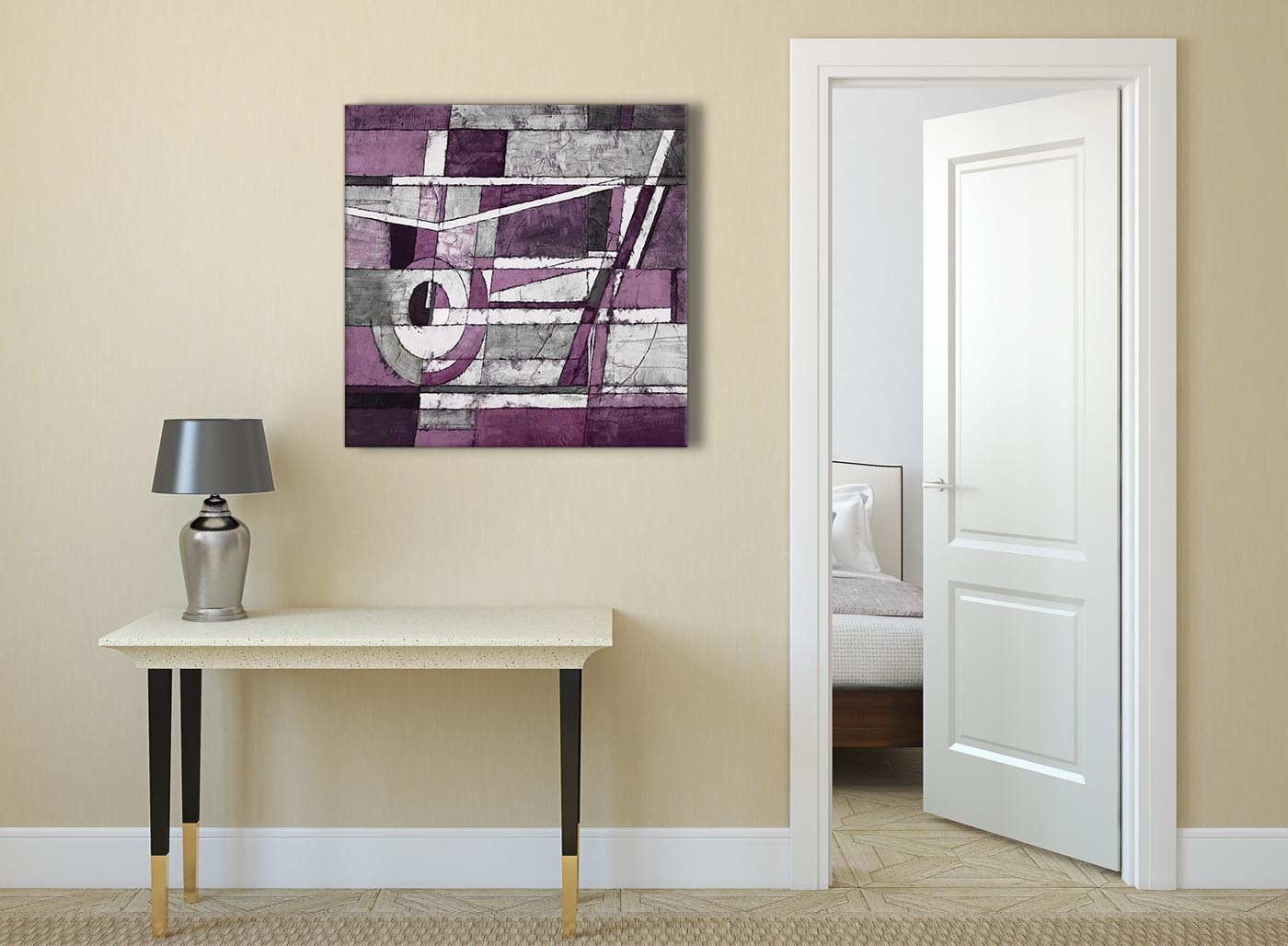 Aubergine Grey White Painting Abstract Office Canvas Pictures For 2017 Grey And White Wall Art (View 6 of 20)