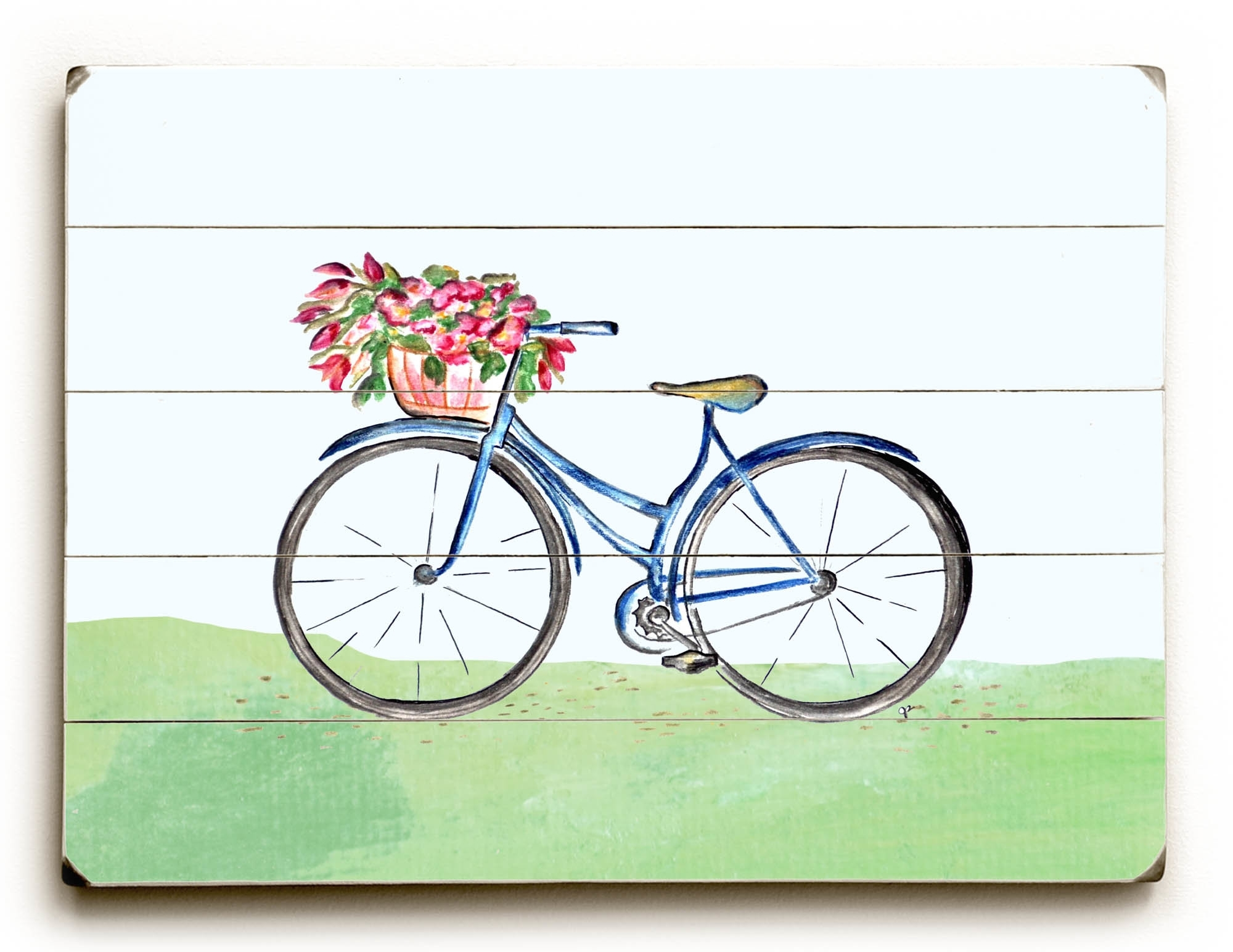 August Grove 'spring Bicycle' Wall Art Plaque | Wayfair In Most Up To Date Bicycle Wall Art (View 3 of 20)