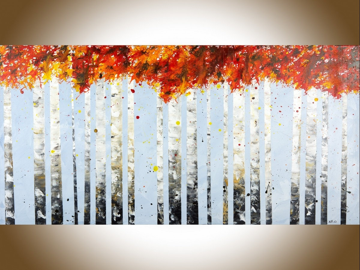 "Autumn Birch Treesqiqigallery 48"" X 24"" Large Wall Art Birch With Regard To Newest Birch Tree Wall Art (View 2 of 20)"