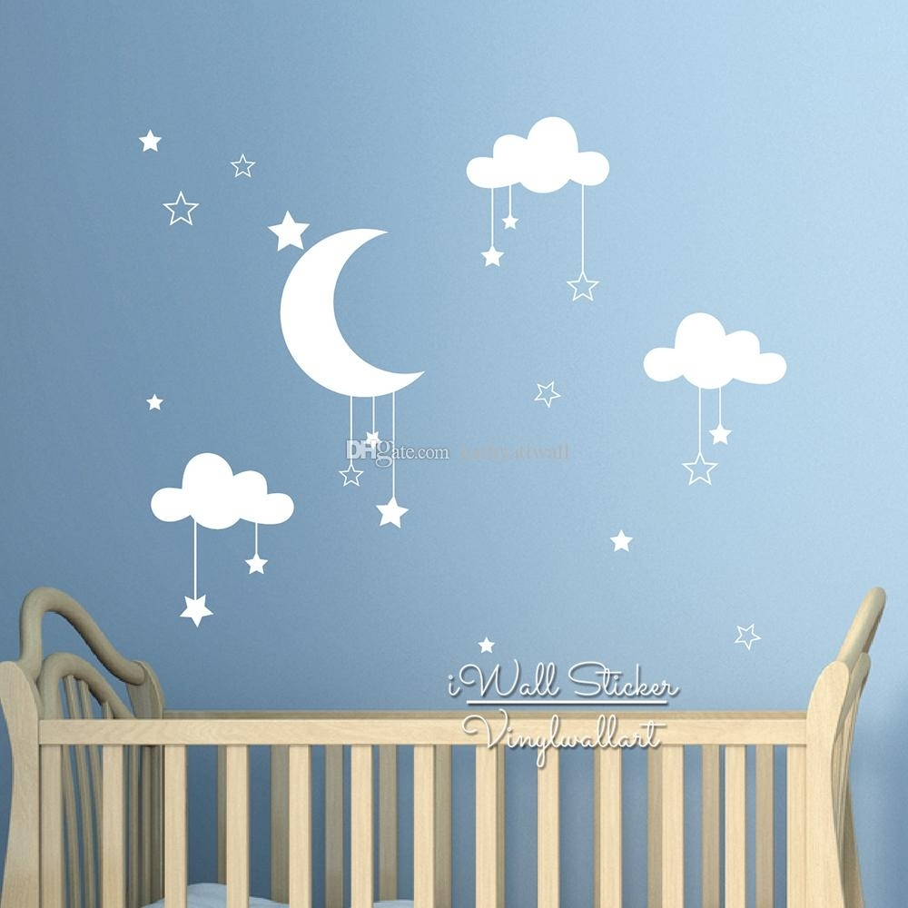 Baby Nursery Clouds Stars Wall Sticker Moon Clouds Wall Decal Kids Regarding Best And Newest Baby Room Wall Art (View 3 of 20)
