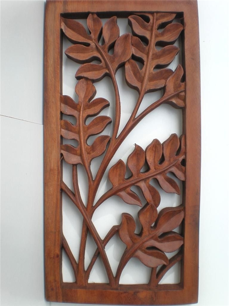 Bali Leaf Wood Carved Wall Art Hanging Relief Carving Balinese 40Cm With Regard To Most Up To Date Wood Carved Wall Art (View 3 of 20)