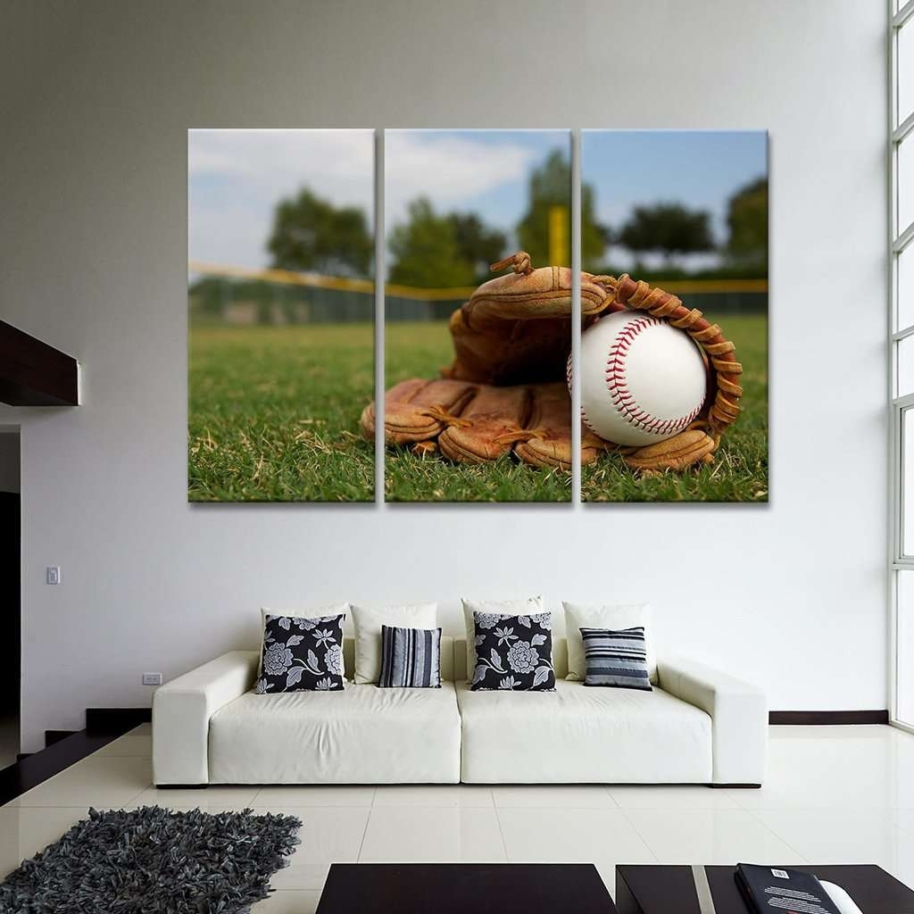 Ball In Baseball Glove Wall Art Multi Panel Canvas – Mighty Paintings Regarding Most Popular Baseball Wall Art (Gallery 3 of 20)