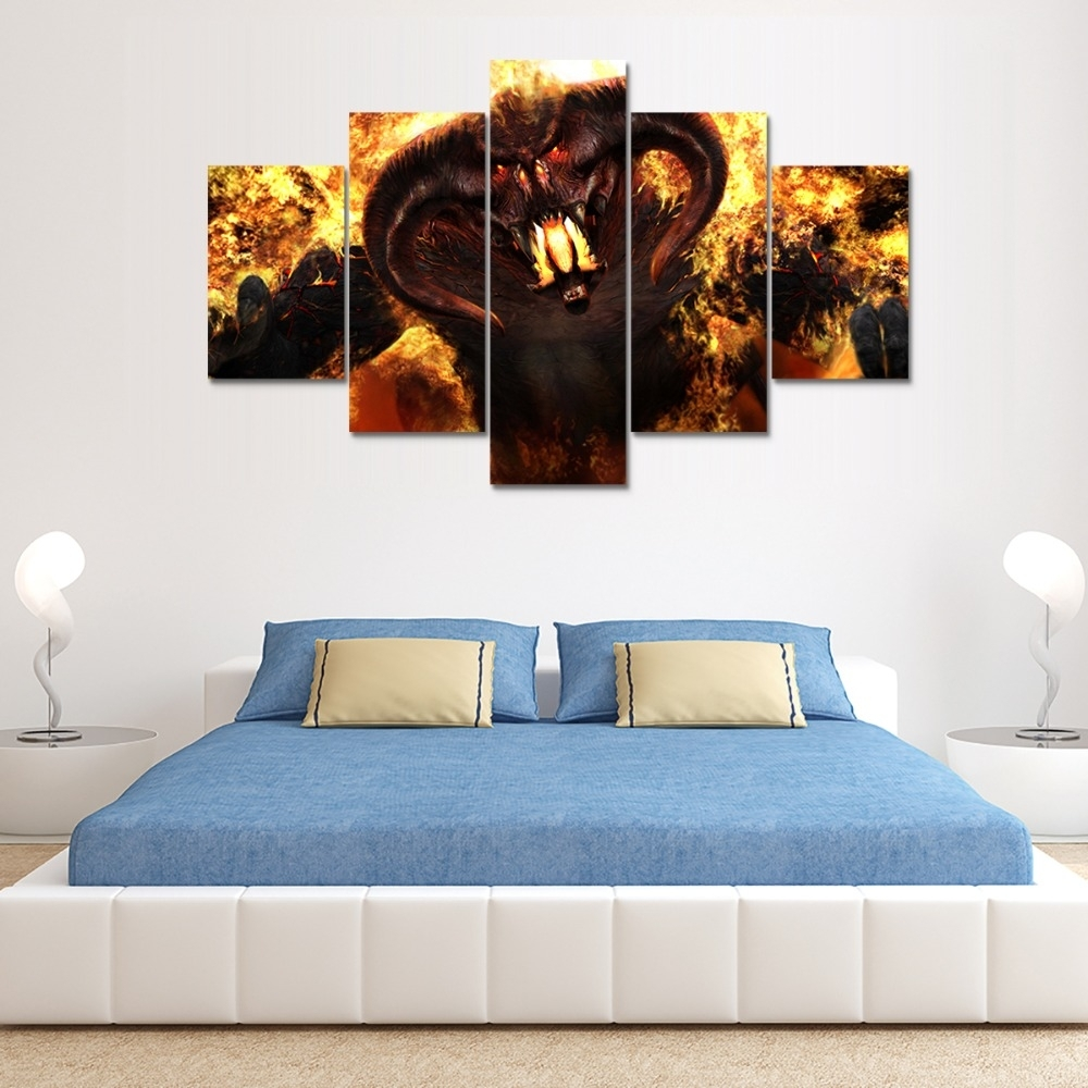 Balrog 5pcs Canvas Print – V7 Intended For Newest Lord Of The Rings Wall Art (View 16 of 20)