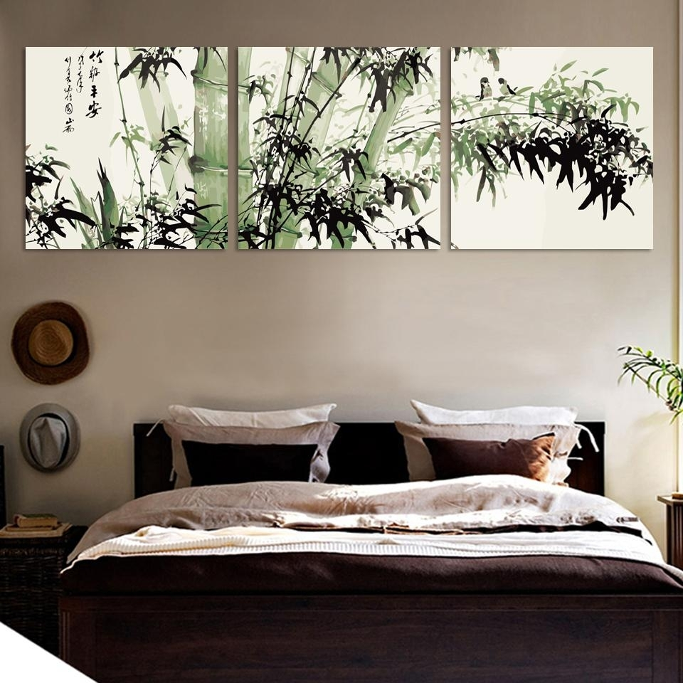 Bamboo Canvas Wall Art Landscape Painting 3 Pieces Large Bamboo Wall In Most Recent Bamboo Wall Art (View 5 of 20)