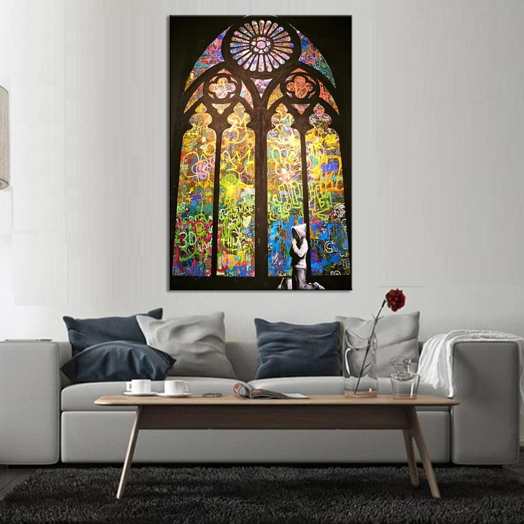 Banksy Art Pray In Church Living Room Wall Art Home Decorative Throughout Most Popular Living Room Wall Art (View 13 of 15)