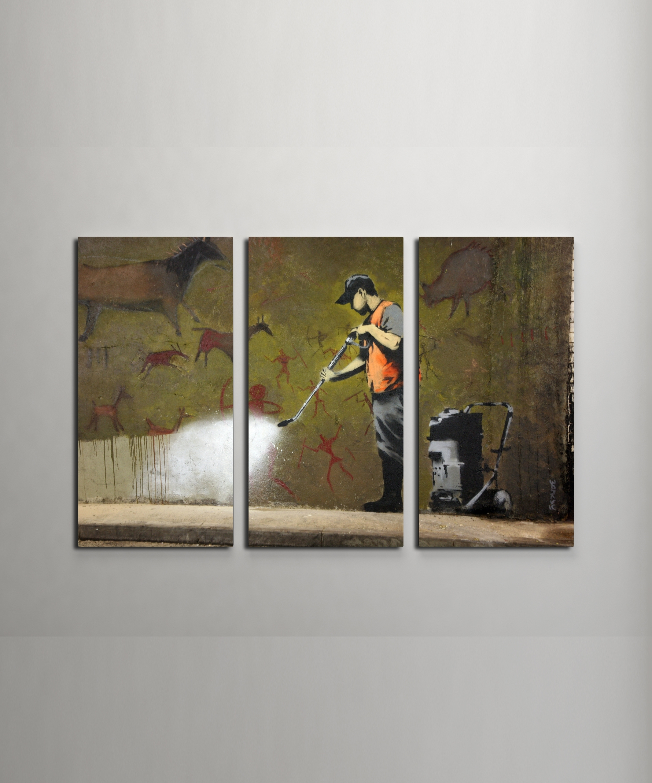 Banksy Cave Painting Canvas Triptych Wall Art With Regard To Most Recent Triptych Wall Art (Gallery 16 of 20)