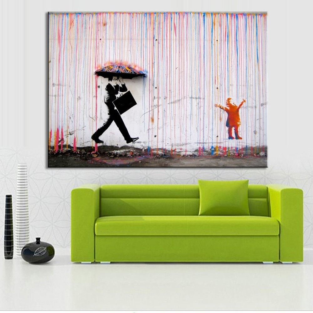 Banksy Colorful Rain Living Room Abstract Figure Oil Painting Hand Inside Most Recent Long Canvas Wall Art (Gallery 18 of 20)