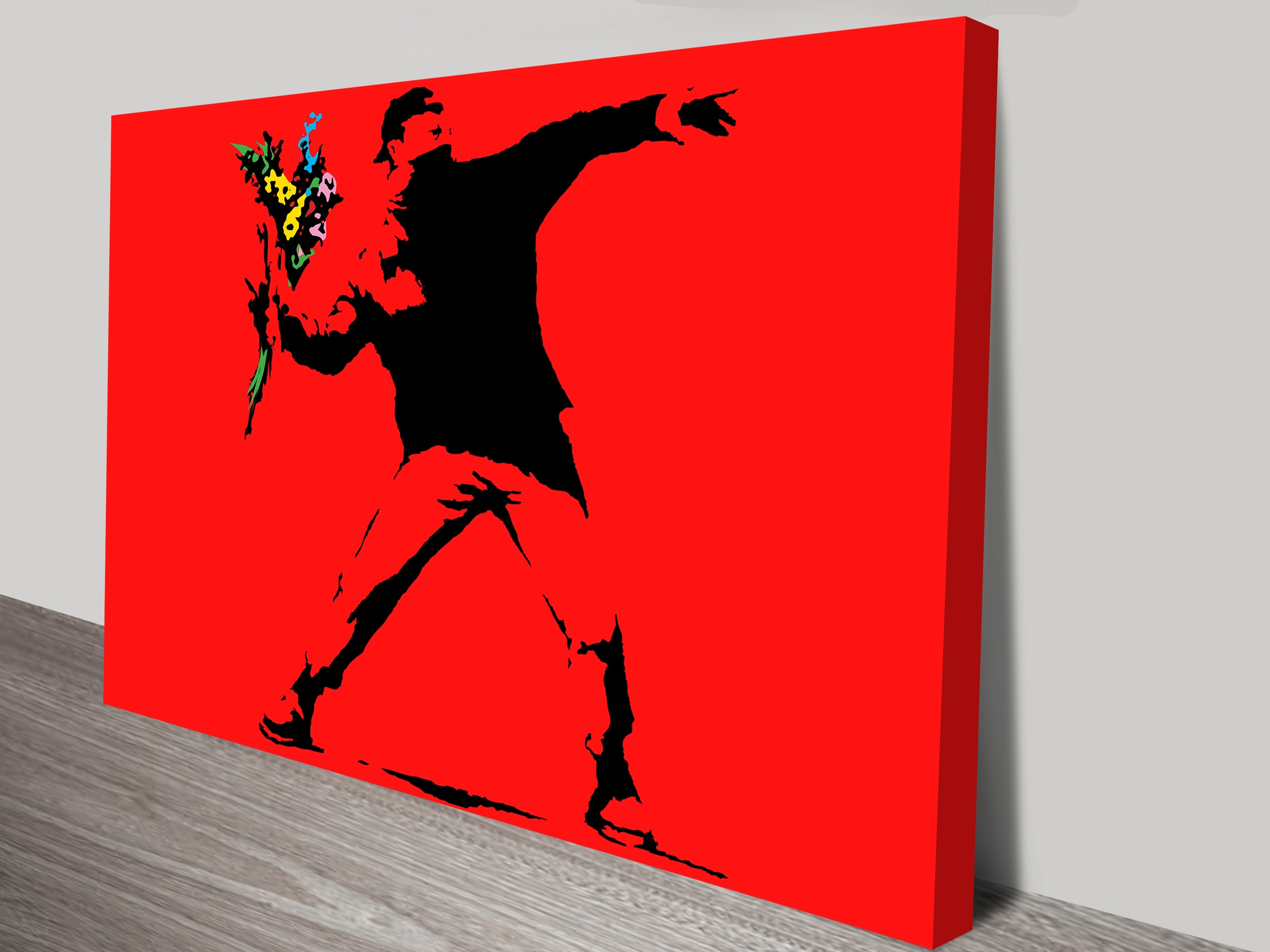 Banksy Flower Thrower Red Wall Art Print With Latest Red Wall Art (View 5 of 15)