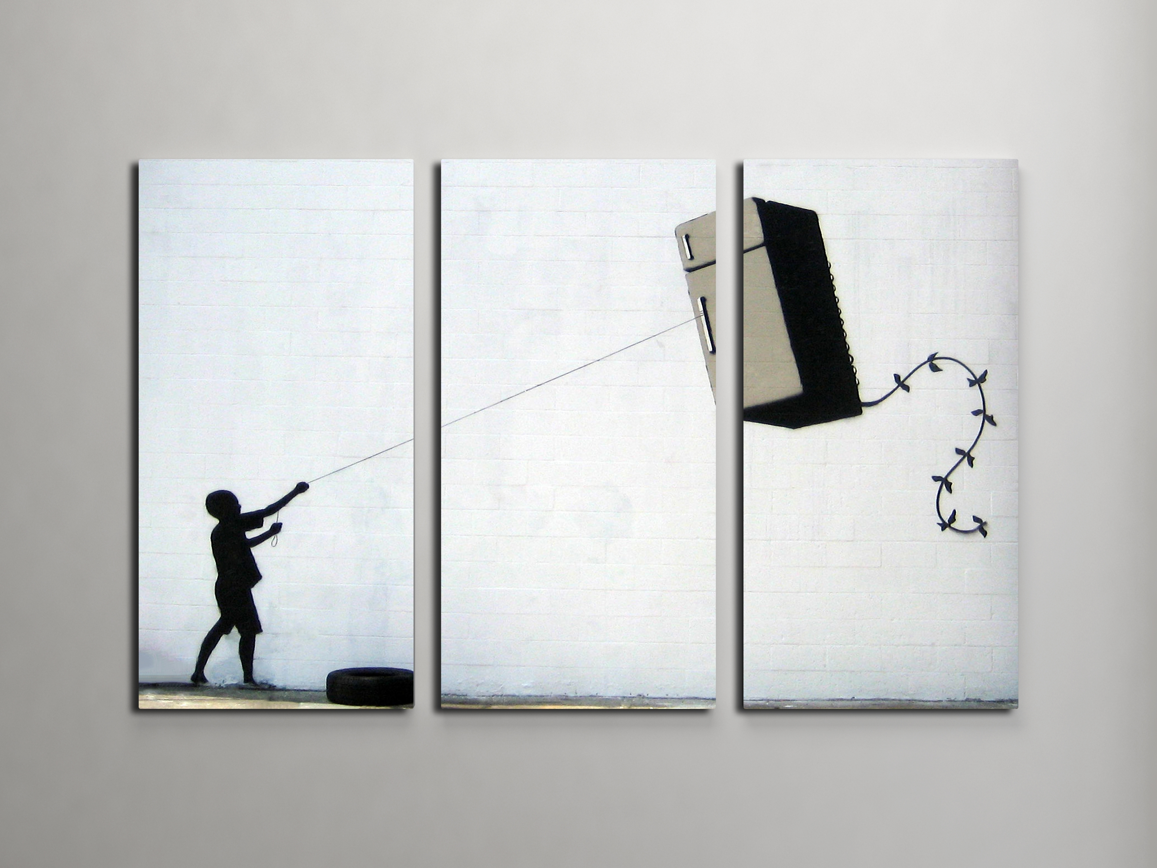 Banksy Fridge Kite Triptych Canvas Wall Art Within 2017 Triptych Wall Art (View 15 of 20)