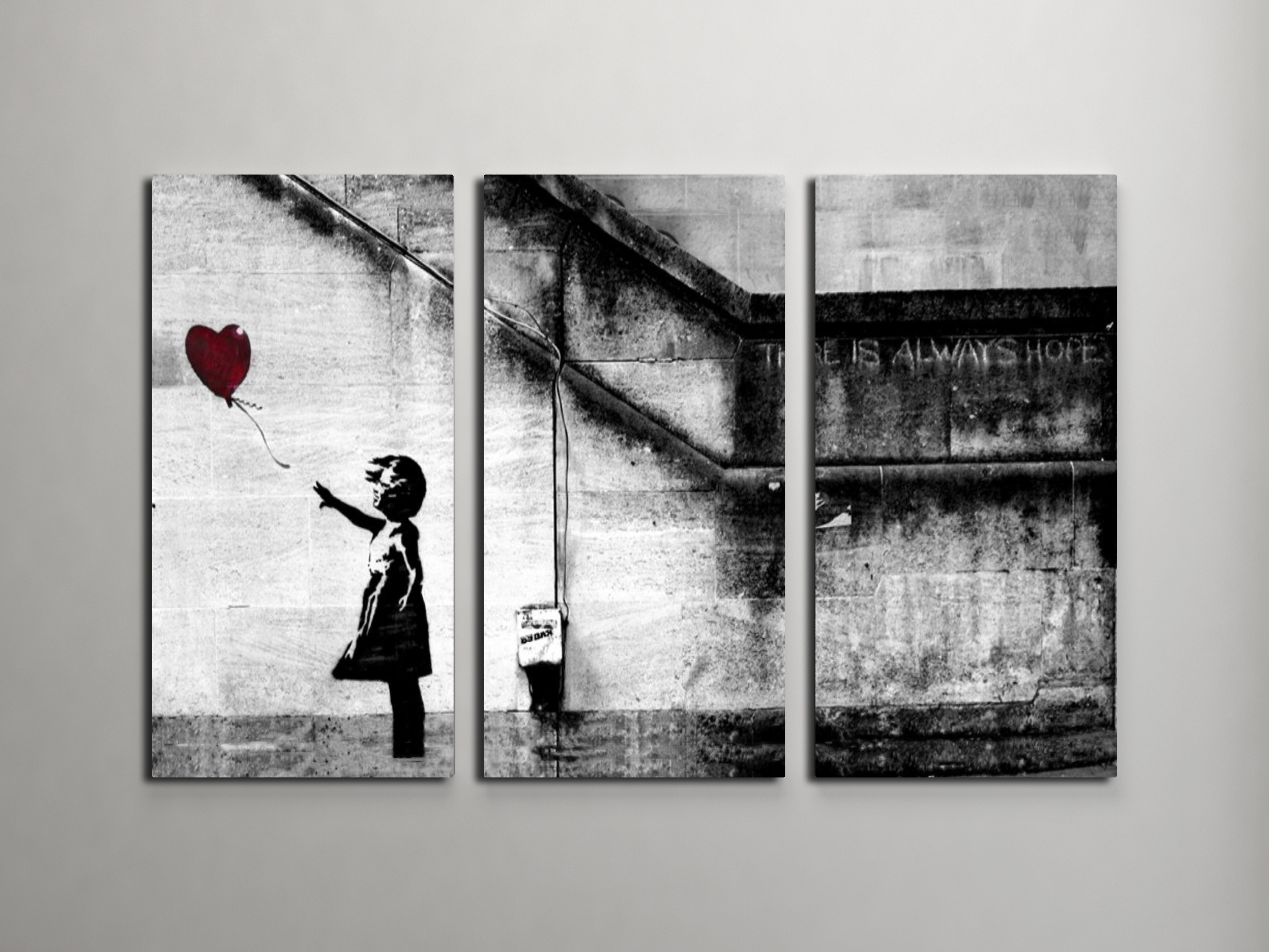 Banksy Girl With Balloon Triptych Canvas Wall Art For Most Up To Date Triptych Wall Art (View 4 of 20)