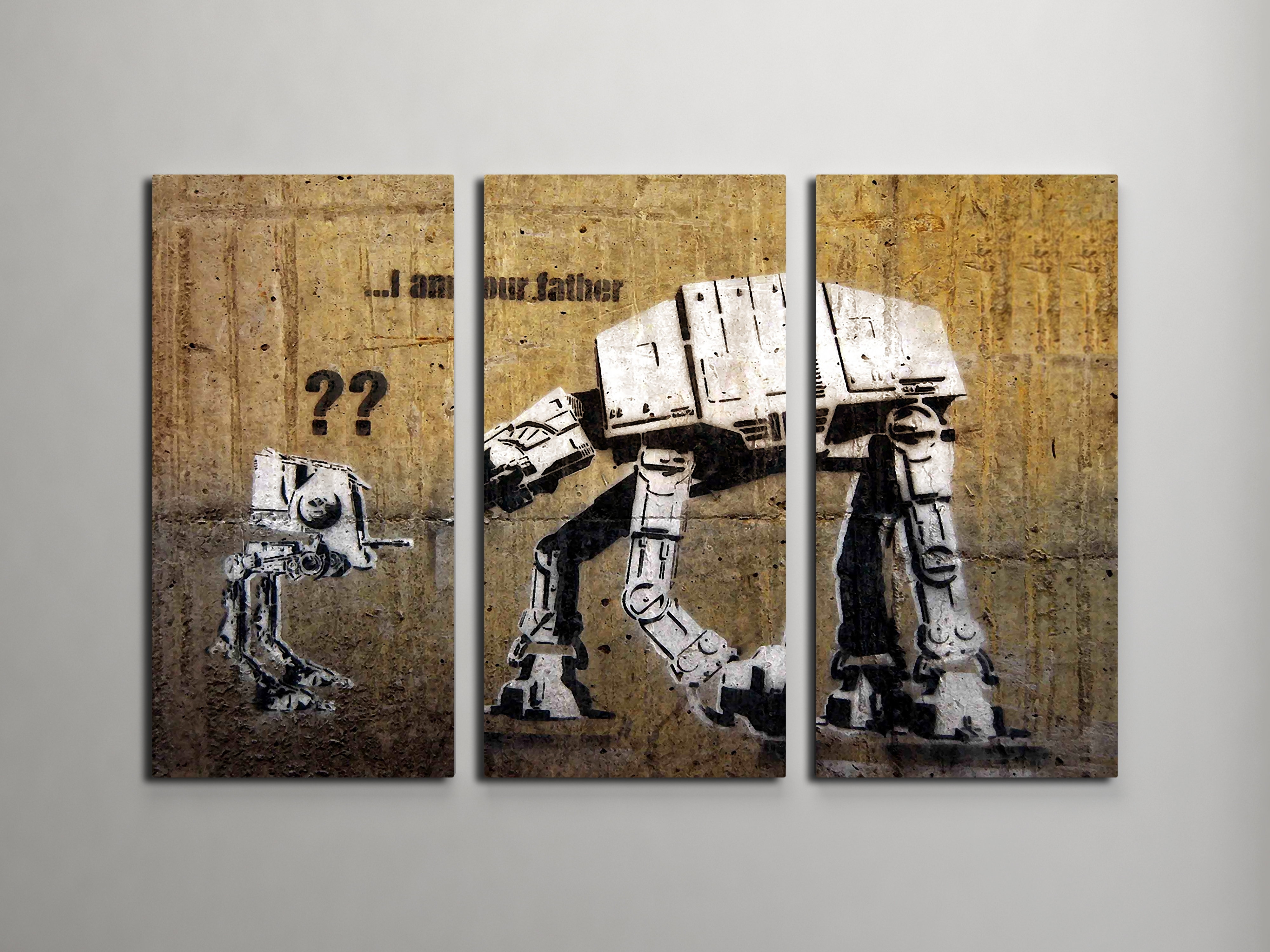 Banksy I Am Your Father (Star Wars) Triptych Canvas Wall Art Regarding Most Current Triptych Wall Art (View 5 of 20)