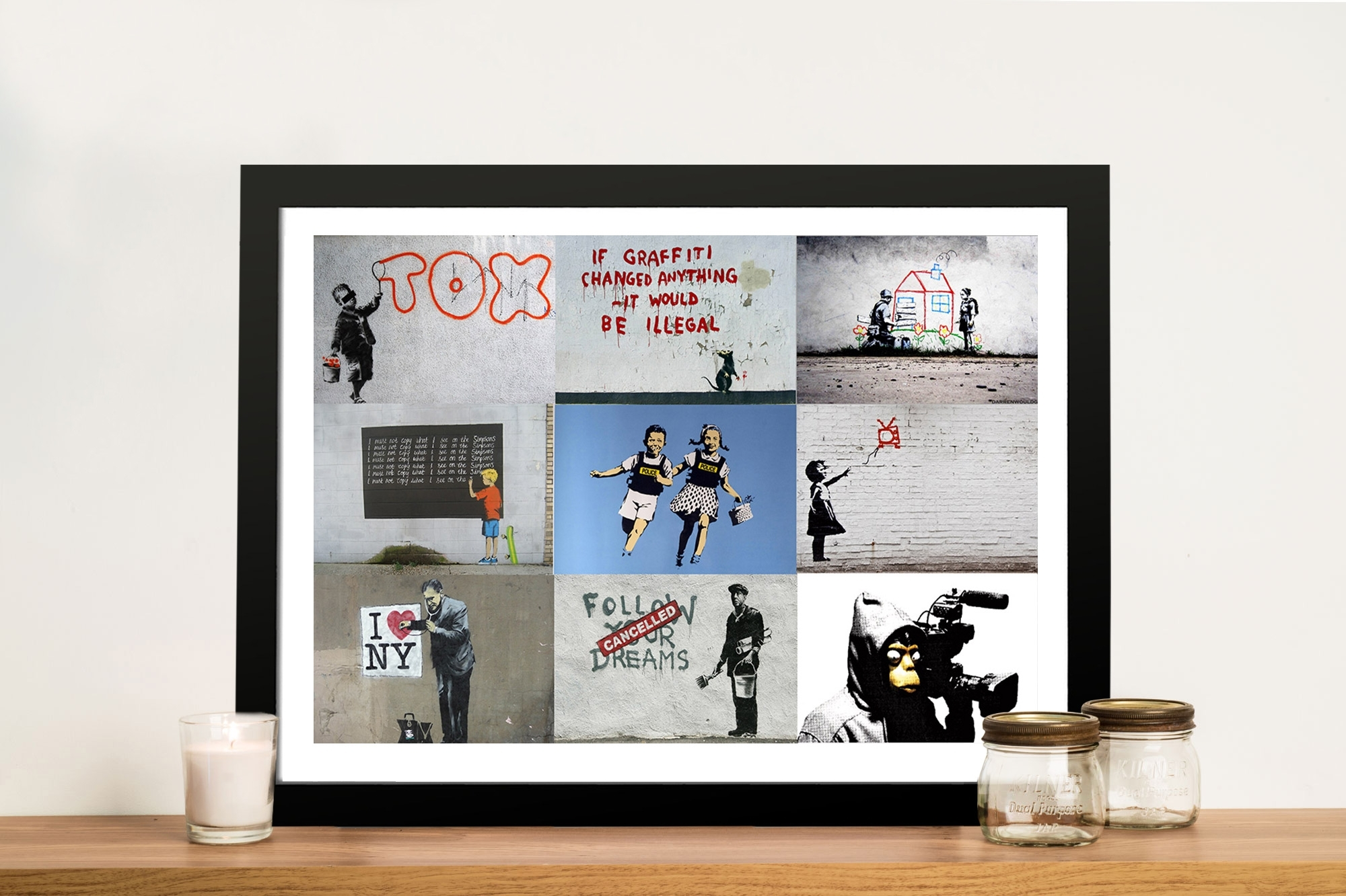 Banksy Montage Pictures Art Framed Wall Art Perth Au Regarding Current Framed Wall Art (View 5 of 15)