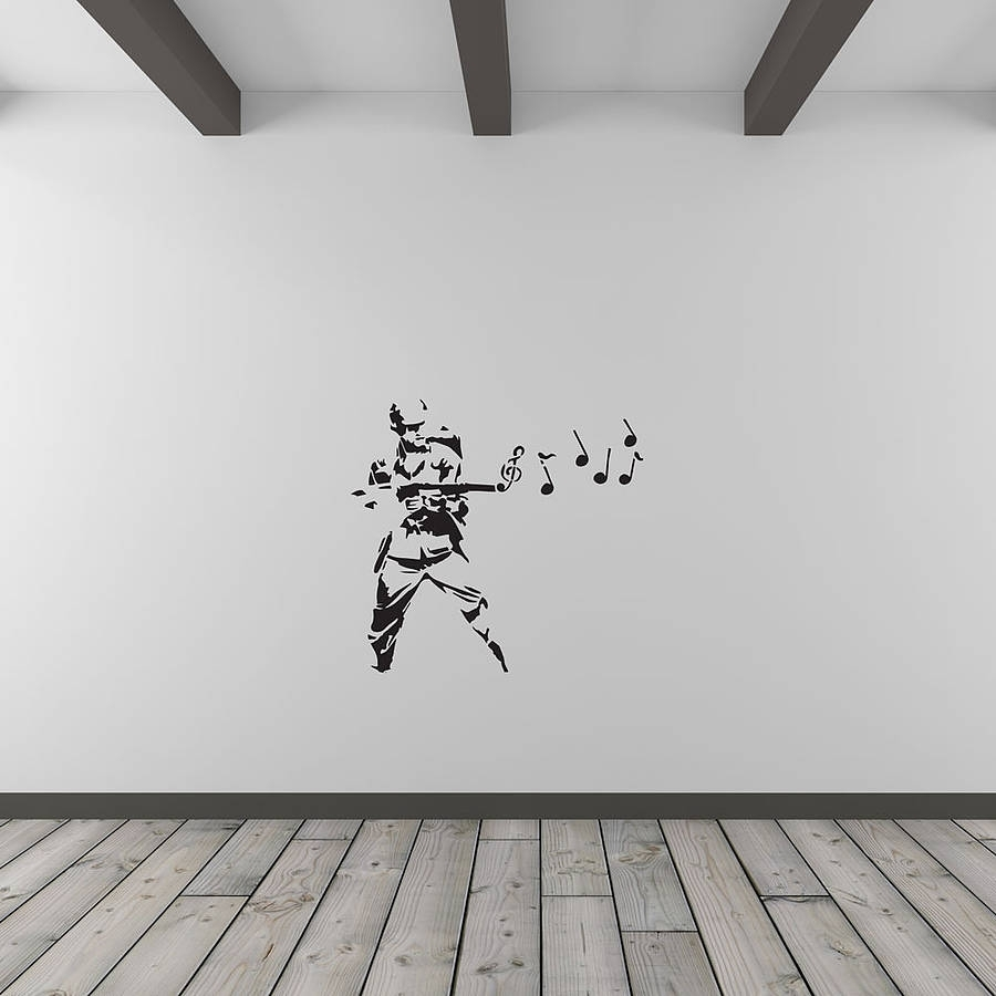 Banksy Musical Soldier Vinyl Wall Art Decalvinyl Revolution Pertaining To Recent Music Wall Art (View 13 of 15)