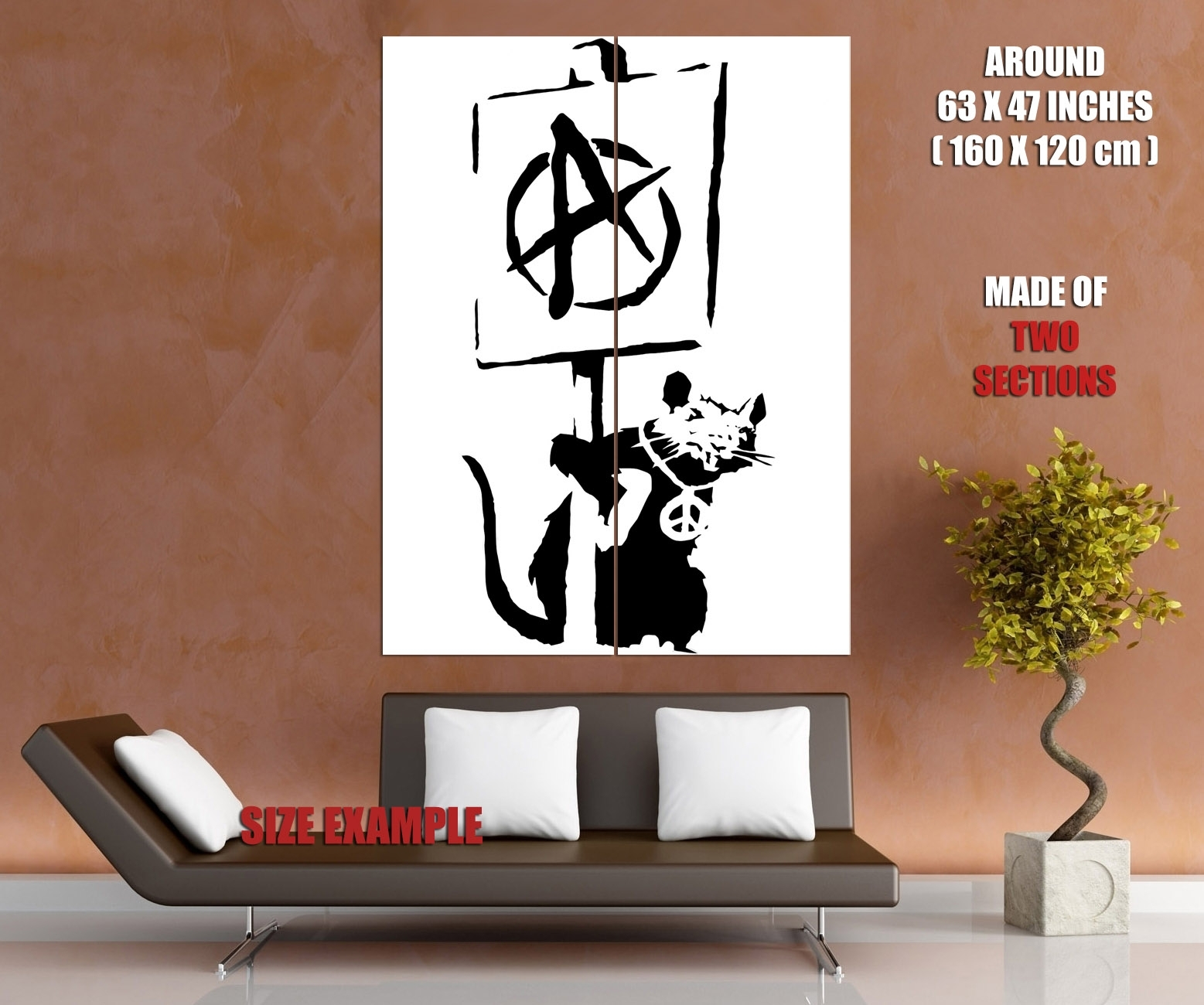 Banksy Rat Anarchy Pacifism Cool Graffiti Art Huge Giant Wall Print Pertaining To Most Recent Giant Wall Art (View 16 of 20)