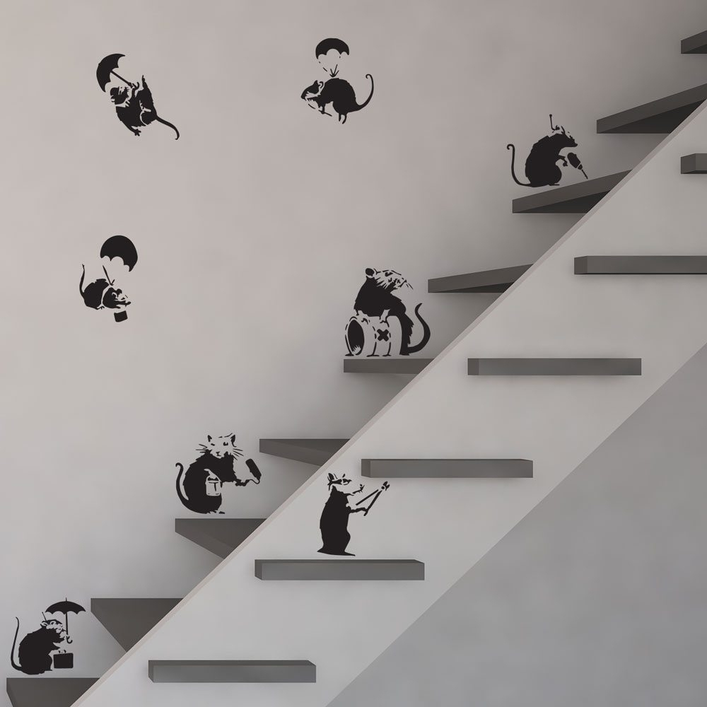 Banksy Rats Vinyl Wall Art Decal   Vinyl Revolution Pack Pertaining To Most Recently Released Vinyl Wall Art (View 9 of 15)