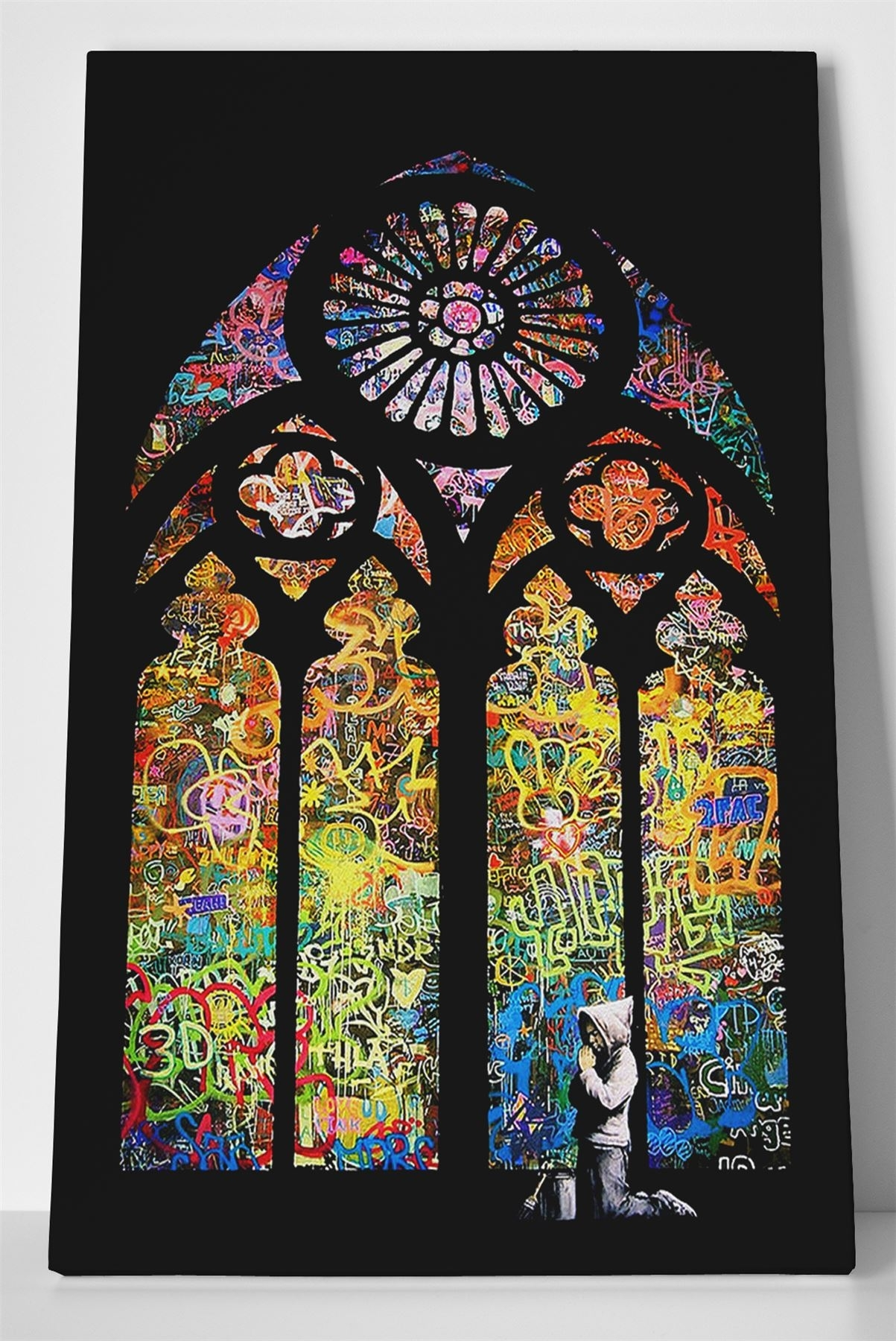 Banksy Stained Glass Box Canvas Print Wall Art – Church Window Intended For 2017 Stained Glass Wall Art (View 12 of 20)