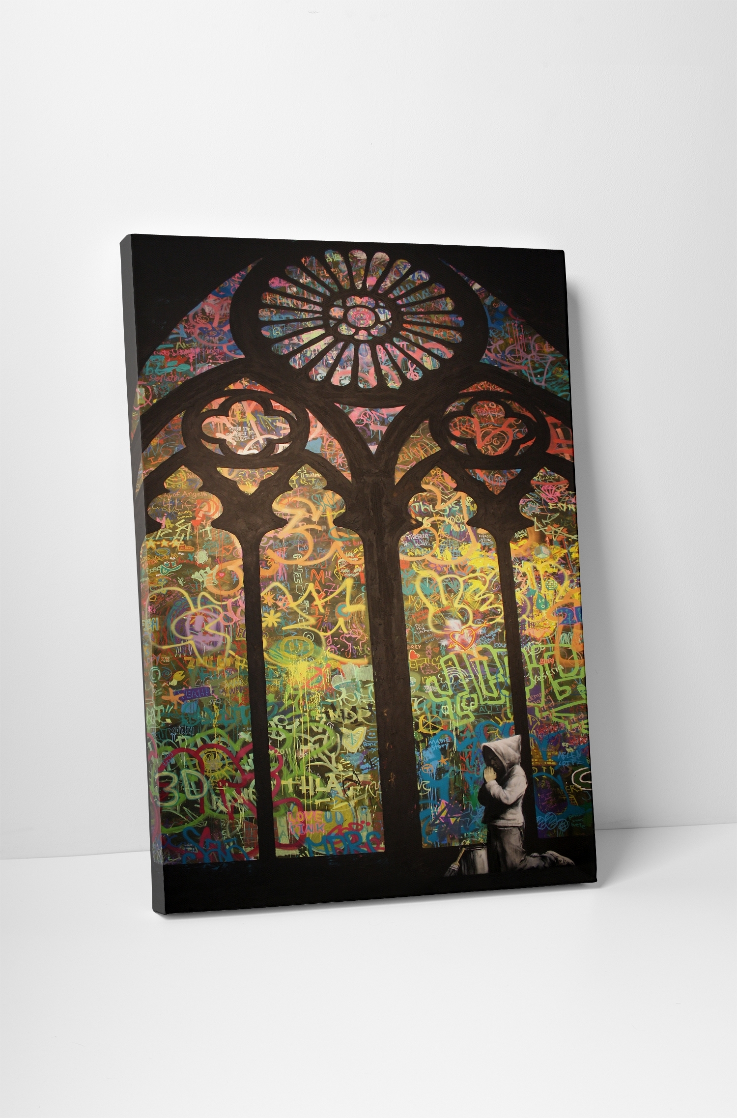 Banksy Stained Glass Cathedral Canvas Wall Art Pertaining To Current Stained Glass Wall Art (View 6 of 20)