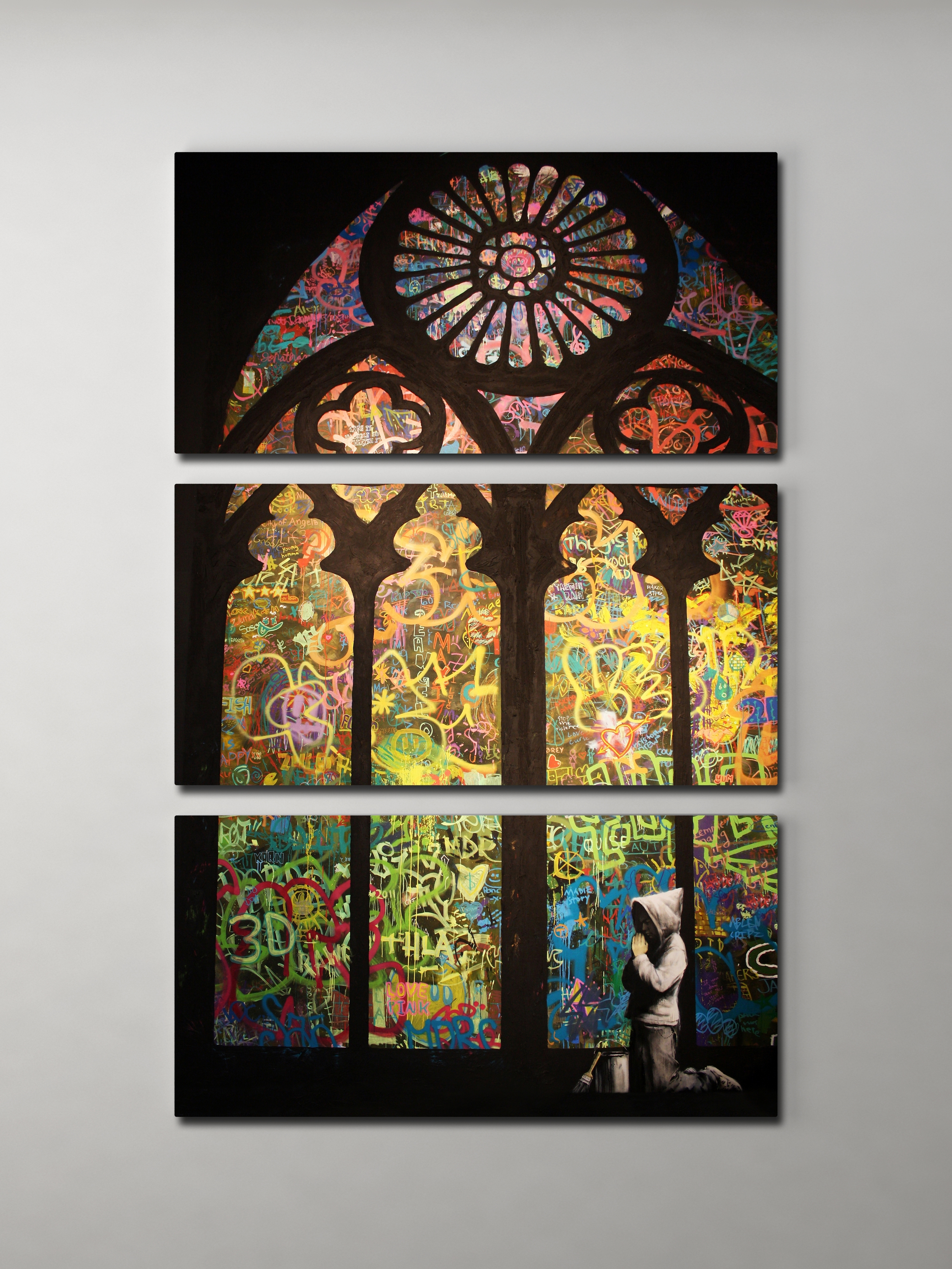 Banksy Stained Glass Cathedral Triptych Canvas Wall Art Inside 2017 Glass Wall Art (View 2 of 15)