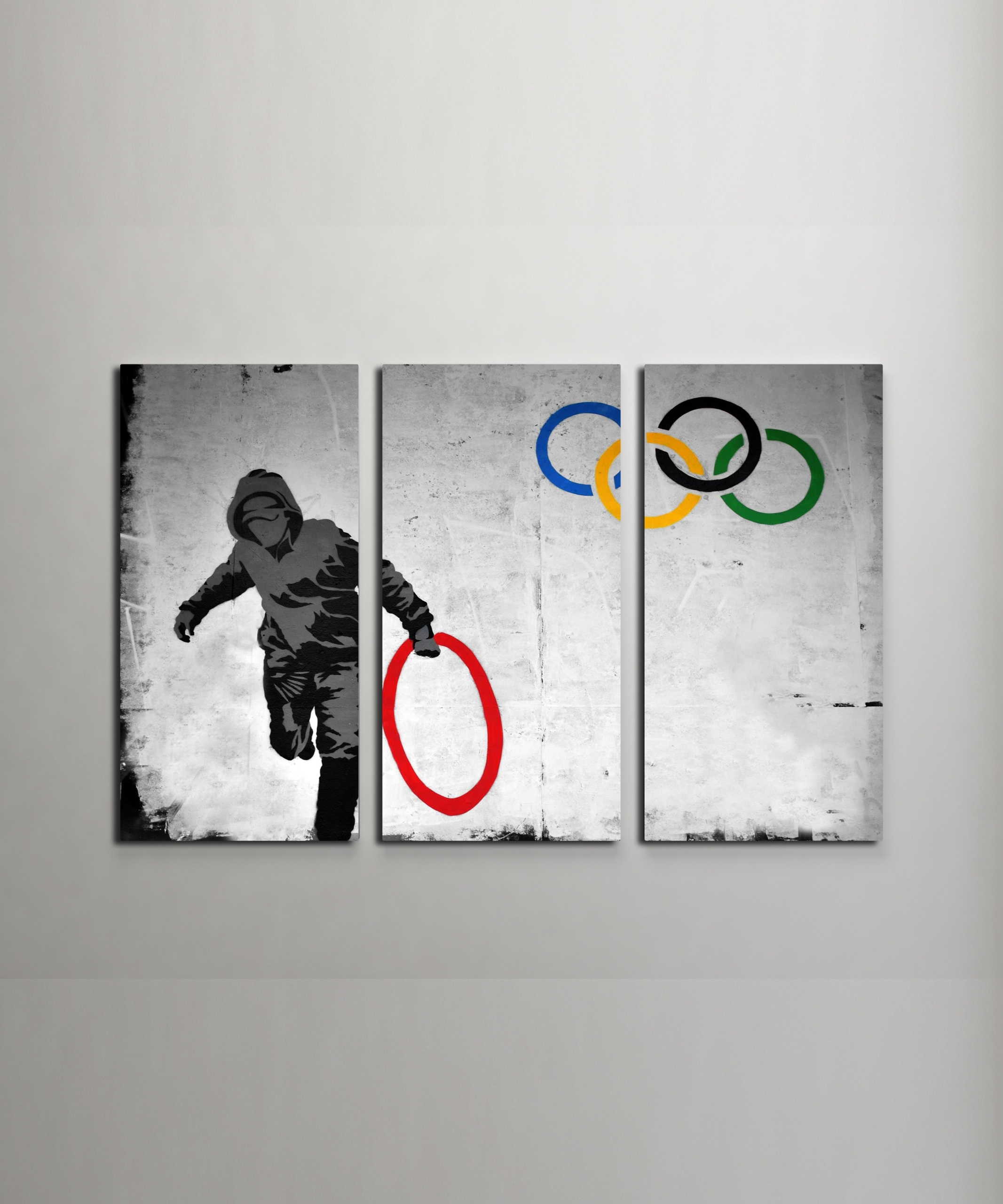 Banksy Stolen Olympic Rings Canvas Triptych Wall Art Within 2017 Triptych Wall Art (View 10 of 20)