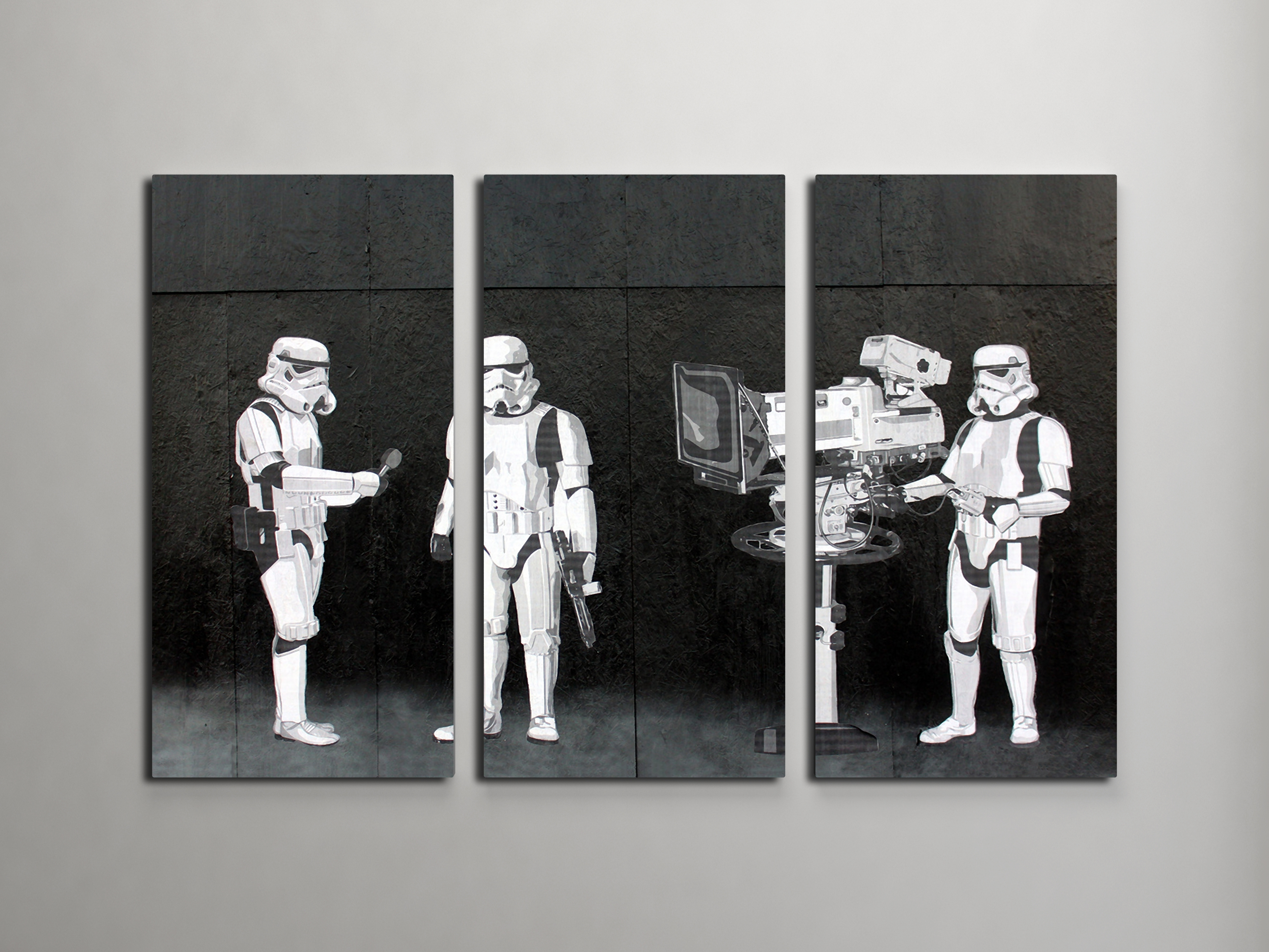 Banksy Stormtroopers Filming Oscars Triptych Canvas Wall Art In Most Popular Triptych Wall Art (View 8 of 20)