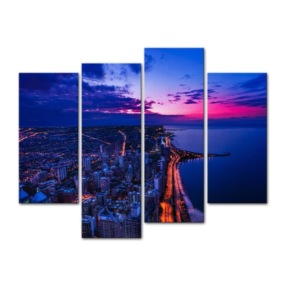 Banmu Canvas Painting Wall Art Print Home Decor Chicago Skyline City Throughout Most Popular Chicago Wall Art (View 9 of 15)
