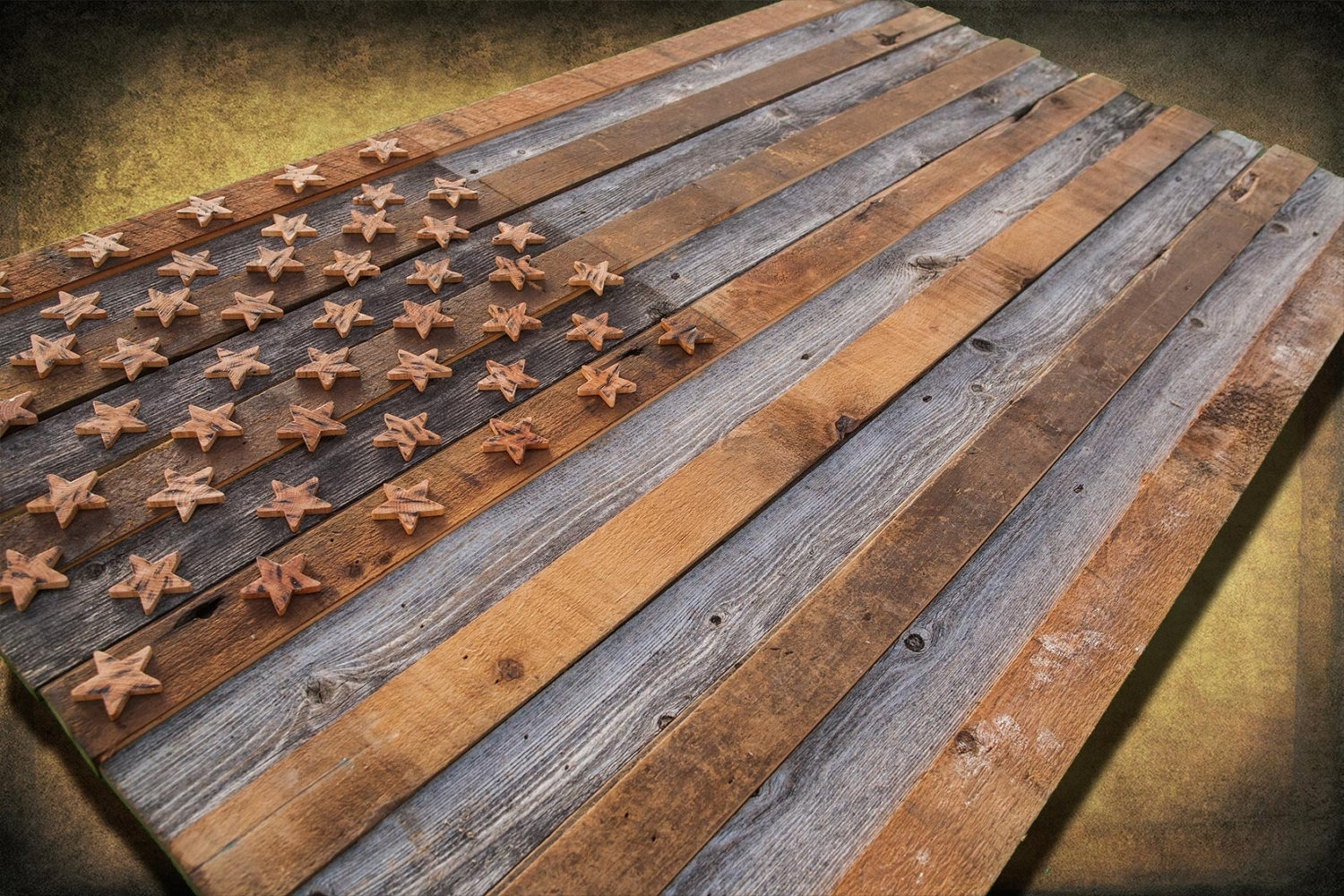 Barnwood American Flag, 100 Year Old Wood, One Of A Kind, 3D, Wooden With Most Up To Date Vintage American Flag Wall Art (View 7 of 20)