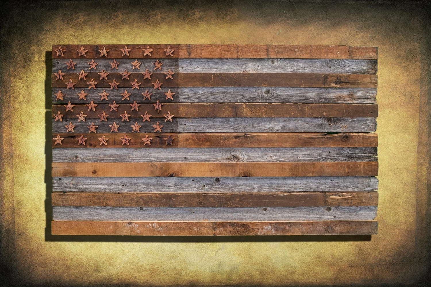 Barnwood American Flag, 100 Year Old Wood, One Of A Kind, 3D, Wooden Within Most Recent Wooden American Flag Wall Art (Gallery 7 of 20)